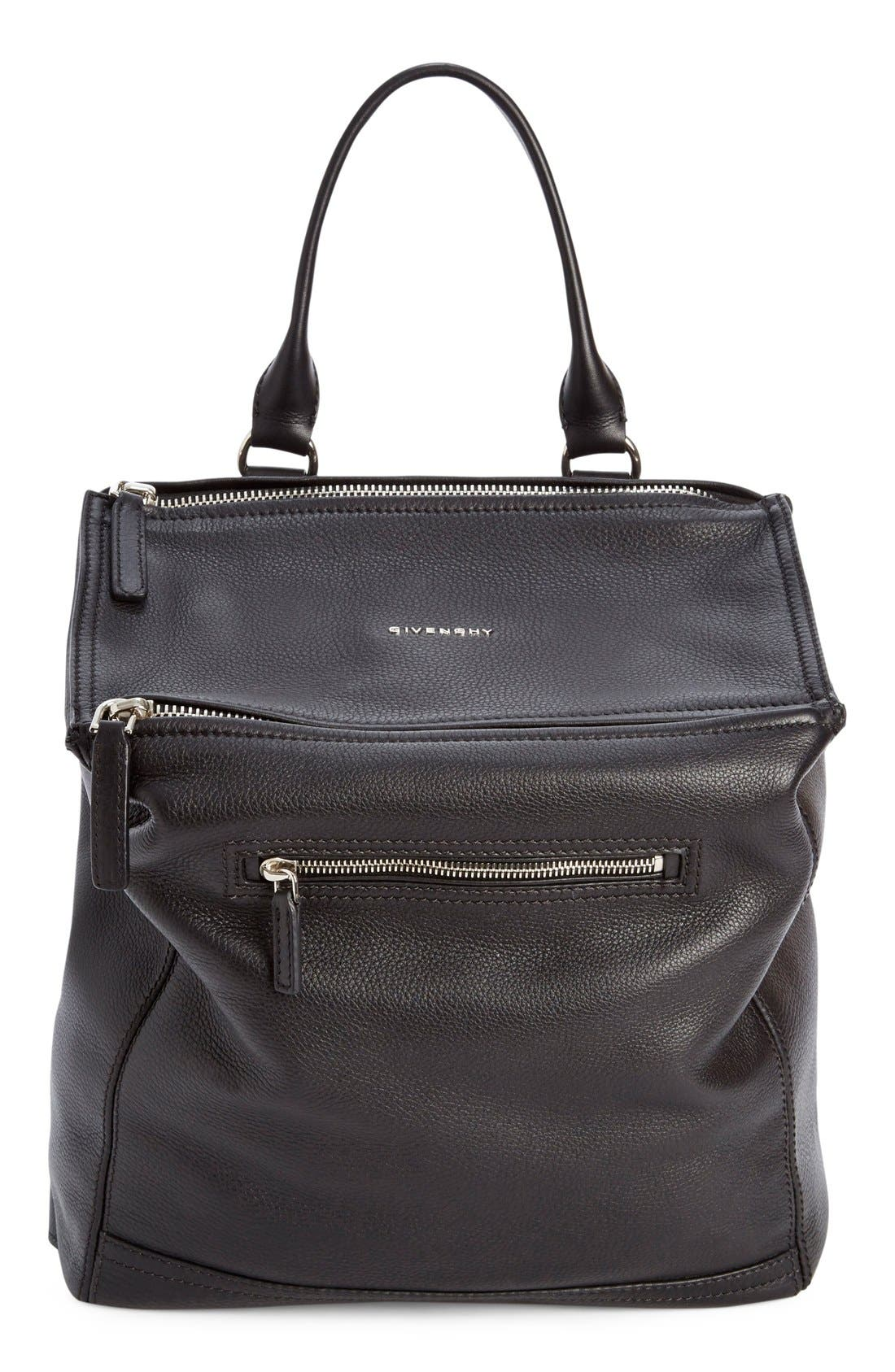 'Pandora' Waxy Leather Backpack, Main, color, 001