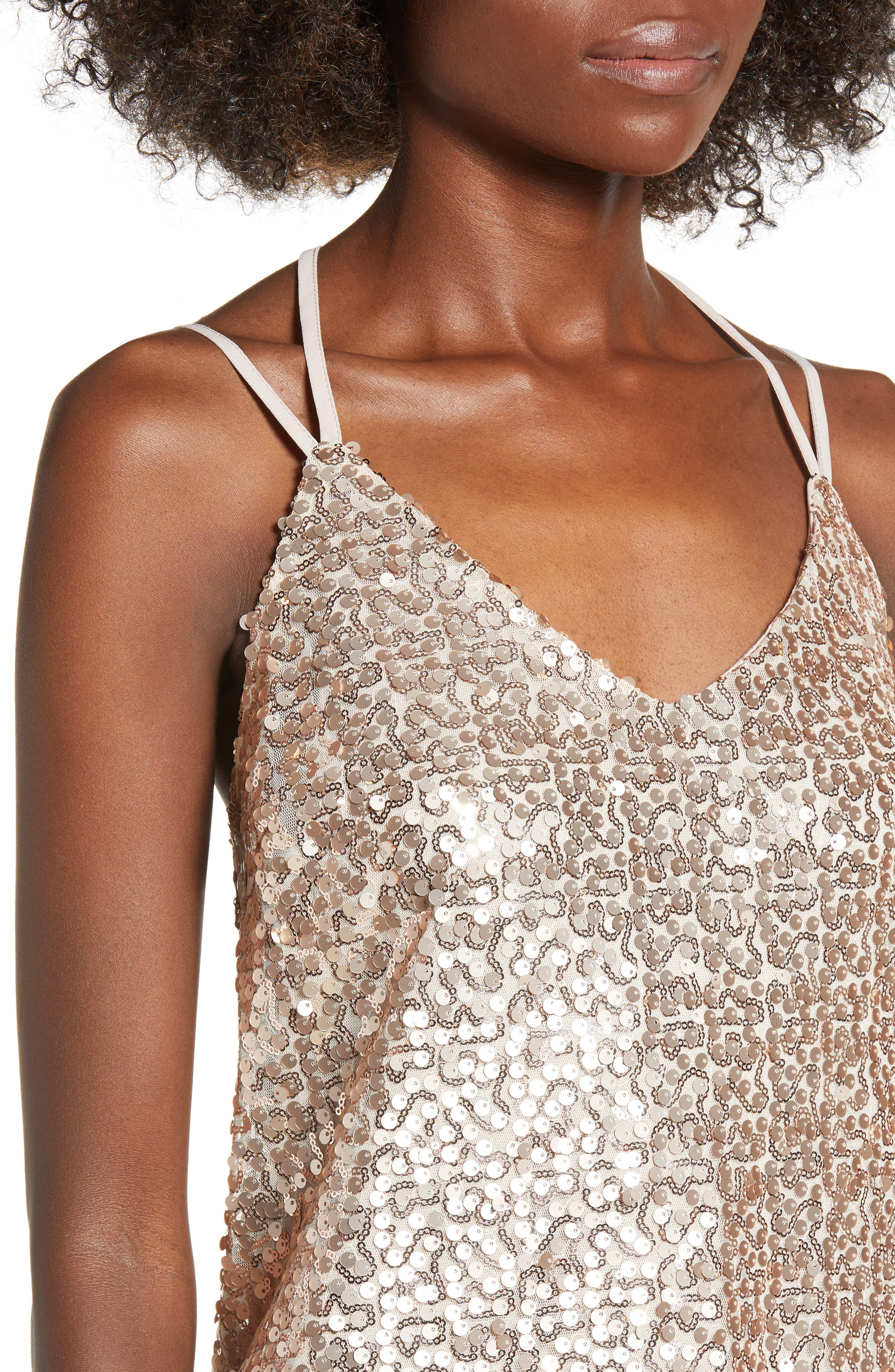 Strappy Sequin Slipdress,                             Alternate thumbnail 4, color,                             710