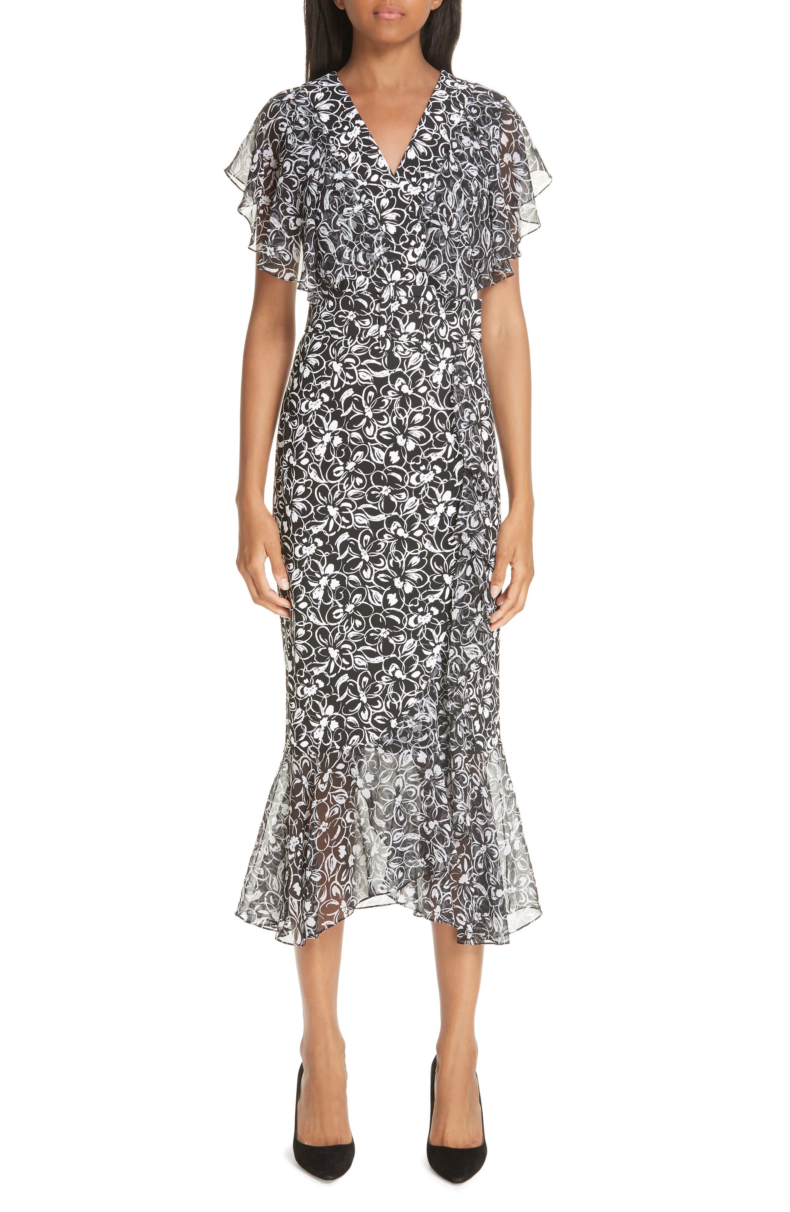 Michael Kors Painterly Floral Belted Ruffle Trim Dress, Black