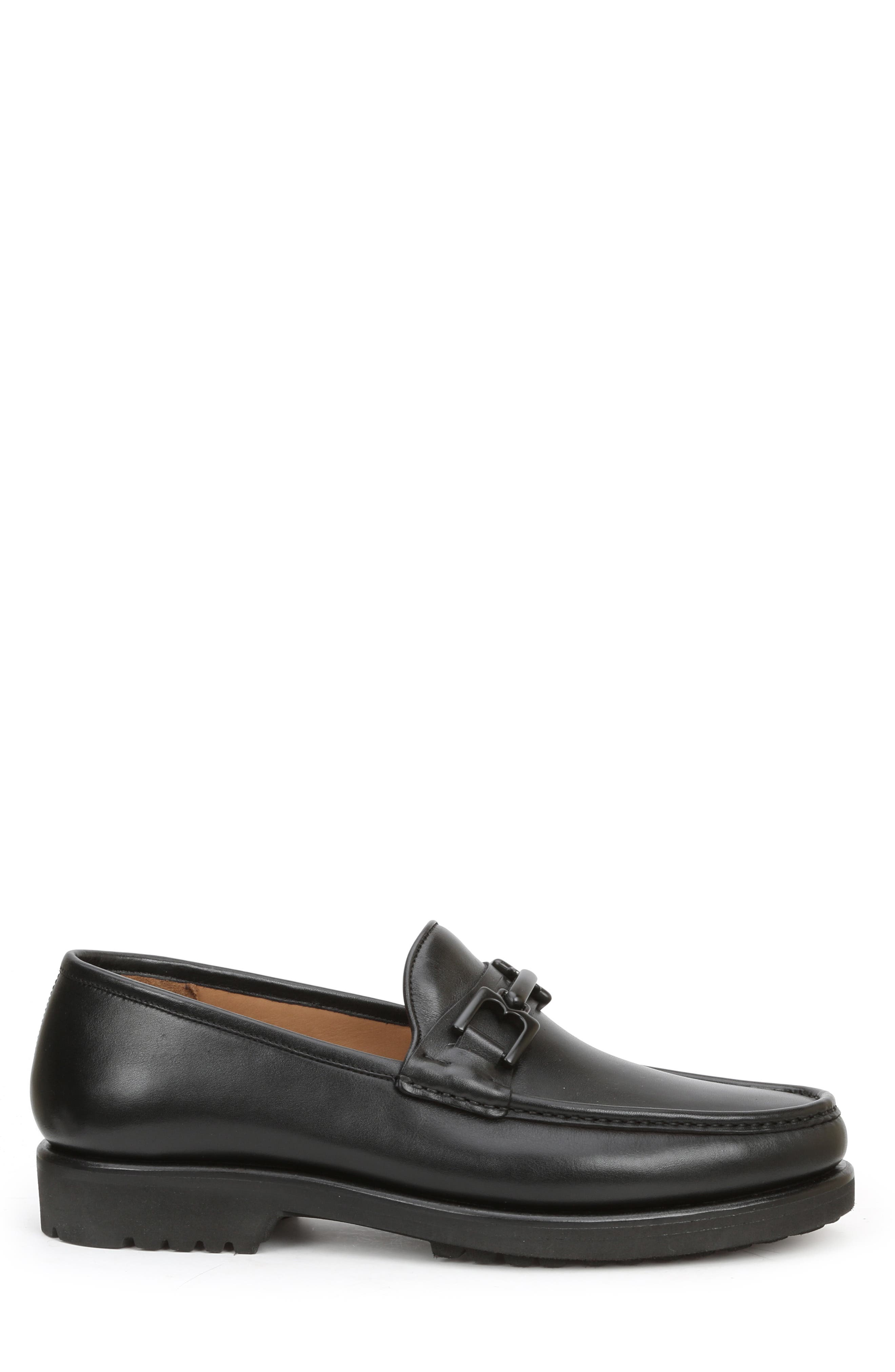 Falcone Lugged Bit Loafer,                             Alternate thumbnail 3, color,                             BLACK