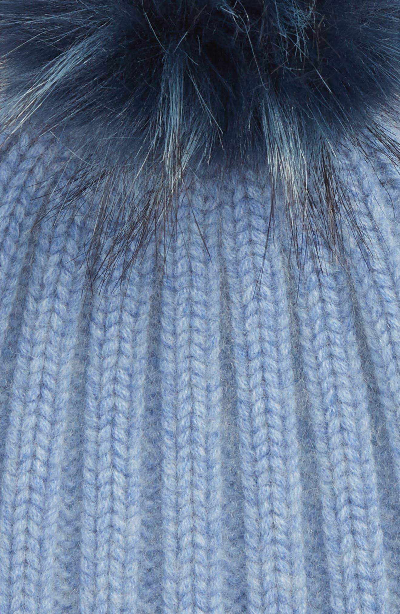 x Atlantic-Pacific Cashmere Beanie with Faux Fur Pom,                             Alternate thumbnail 2, color,                             450