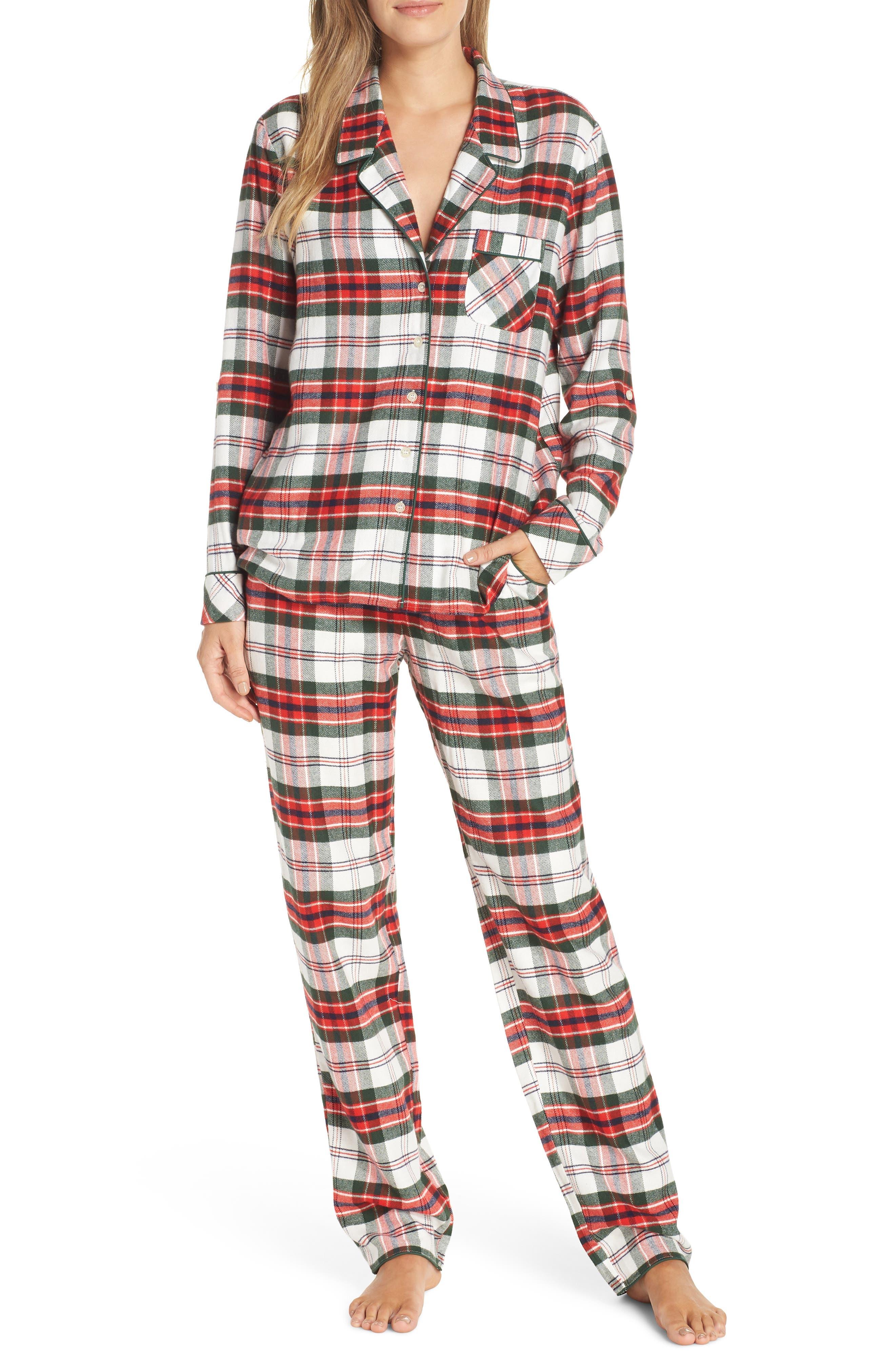 Nordstrom Lingerie Starlight Flannel Pajamas, Ivory