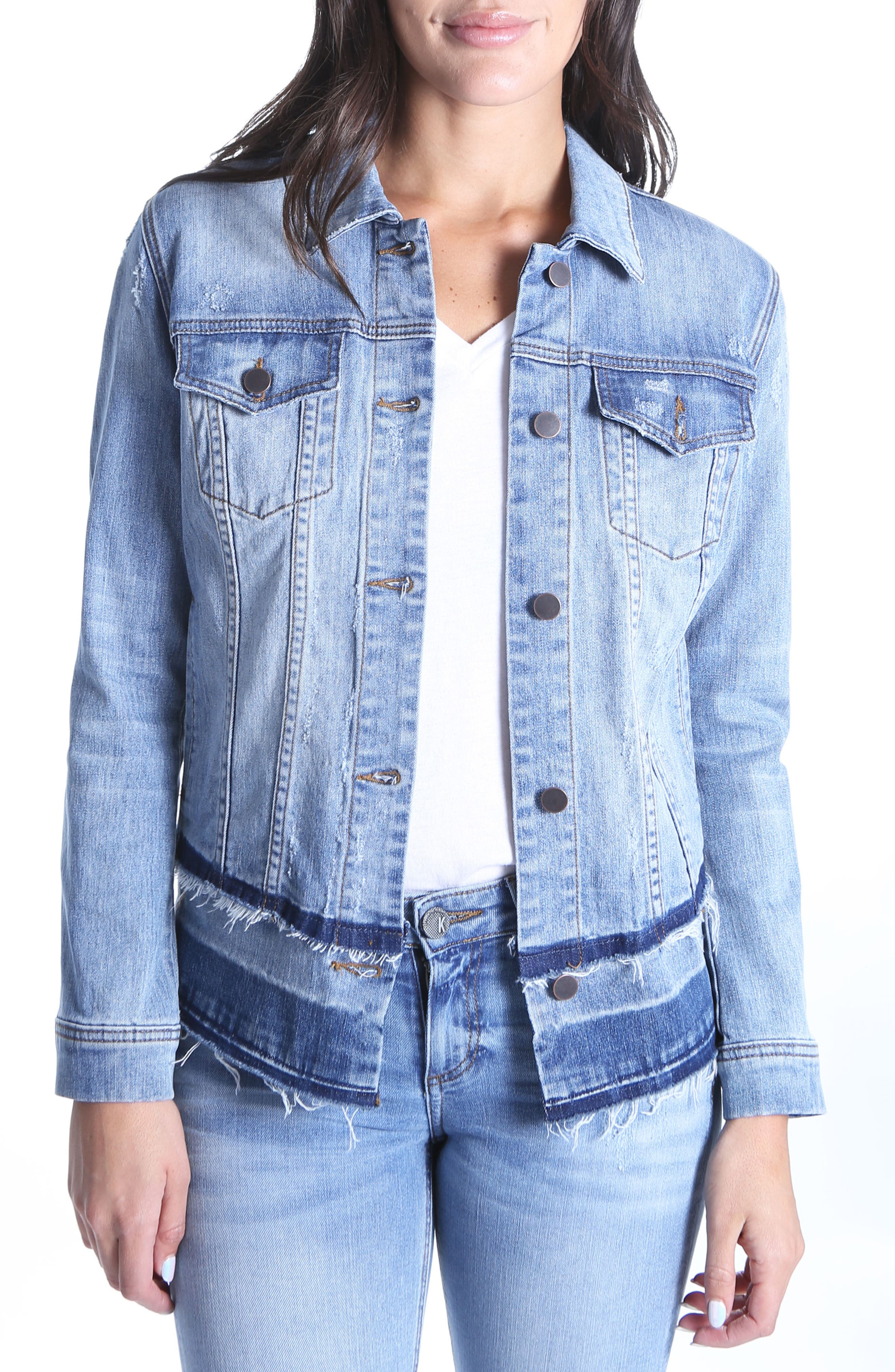 Double Release Hem Denim Jacket,                             Main thumbnail 1, color,                             419