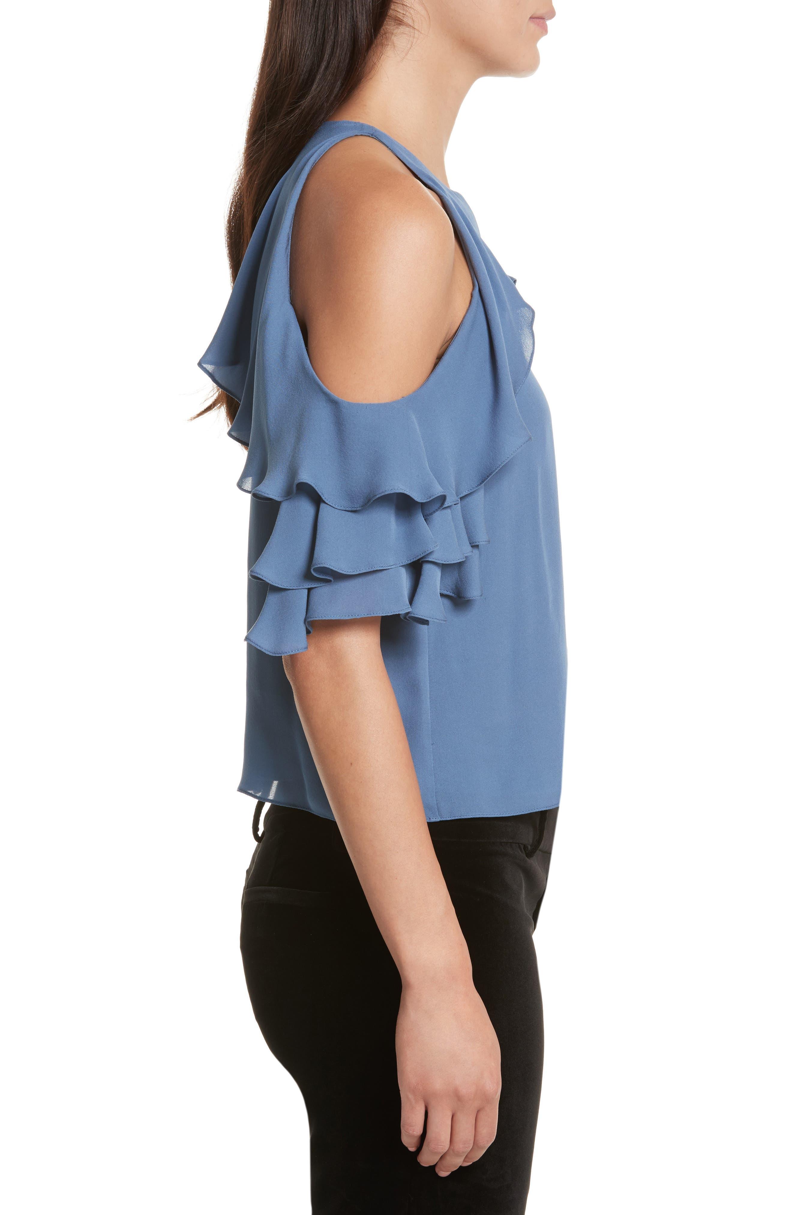 Idalla Cold Shoulder Ruffle Silk Blouse,                             Alternate thumbnail 3, color,                             401