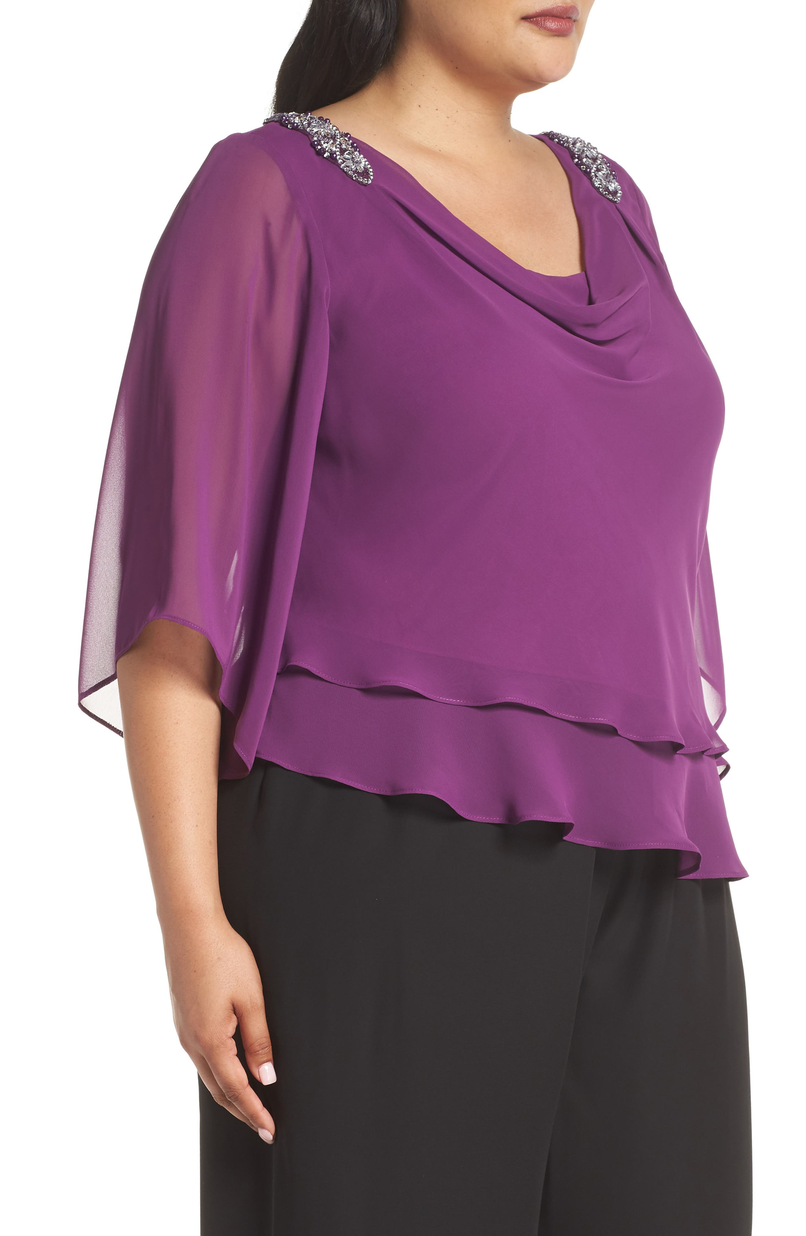Embellished Tiered Chiffon Top,                             Alternate thumbnail 3, color,                             VINTAGE PLUM