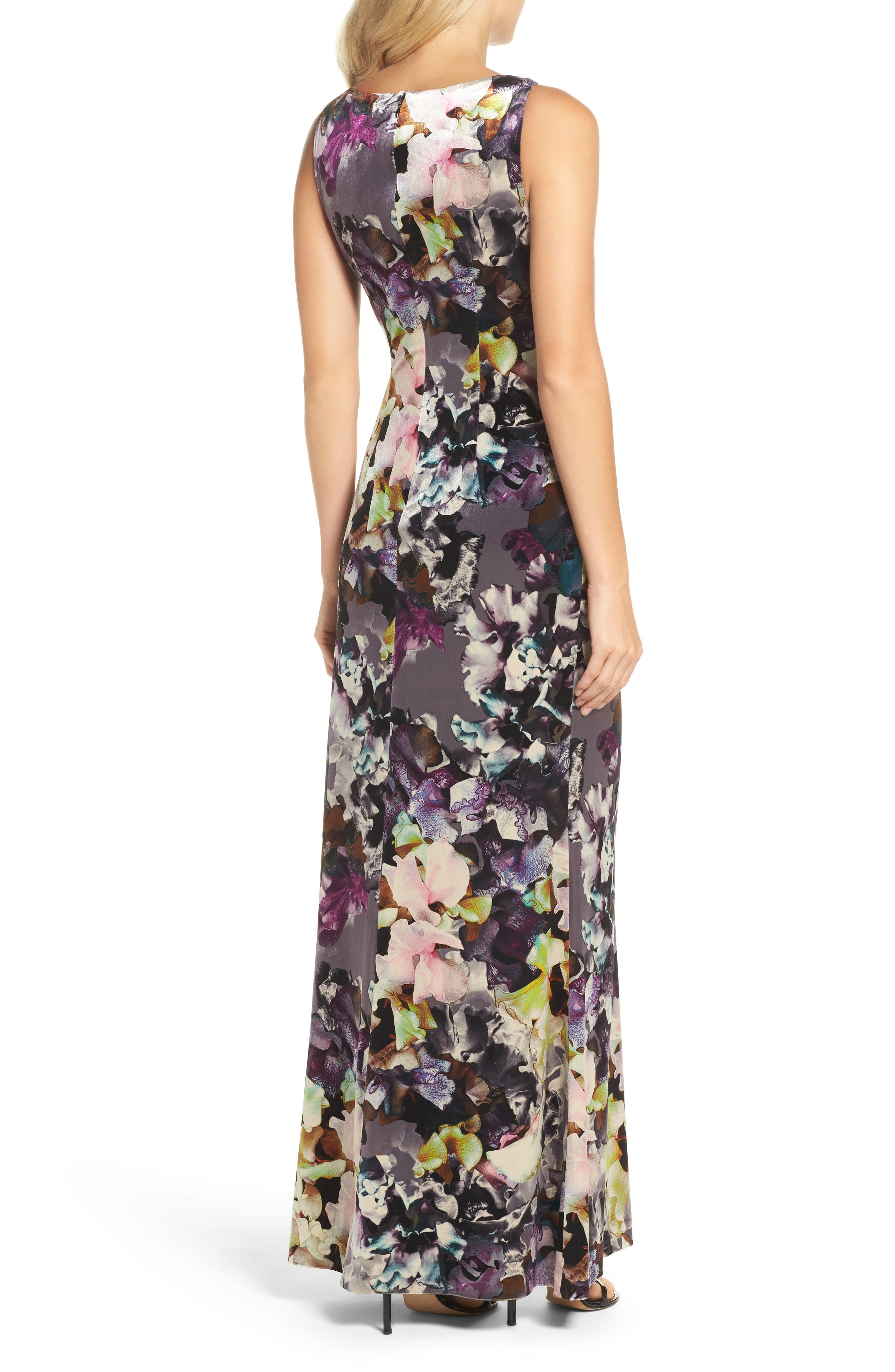 Floral Velvet Gown,                             Alternate thumbnail 2, color,                             590