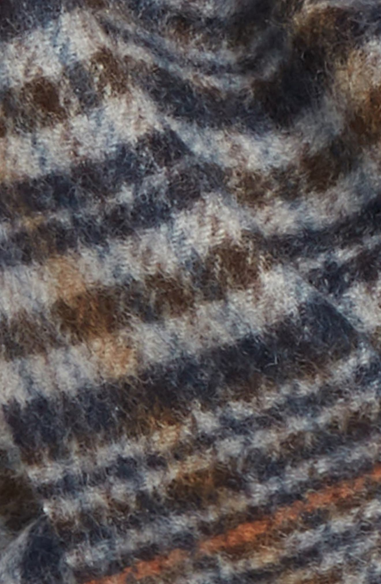 Tattersall Cashmere Scarf,                             Alternate thumbnail 3, color,                             BLACK/ BROWN