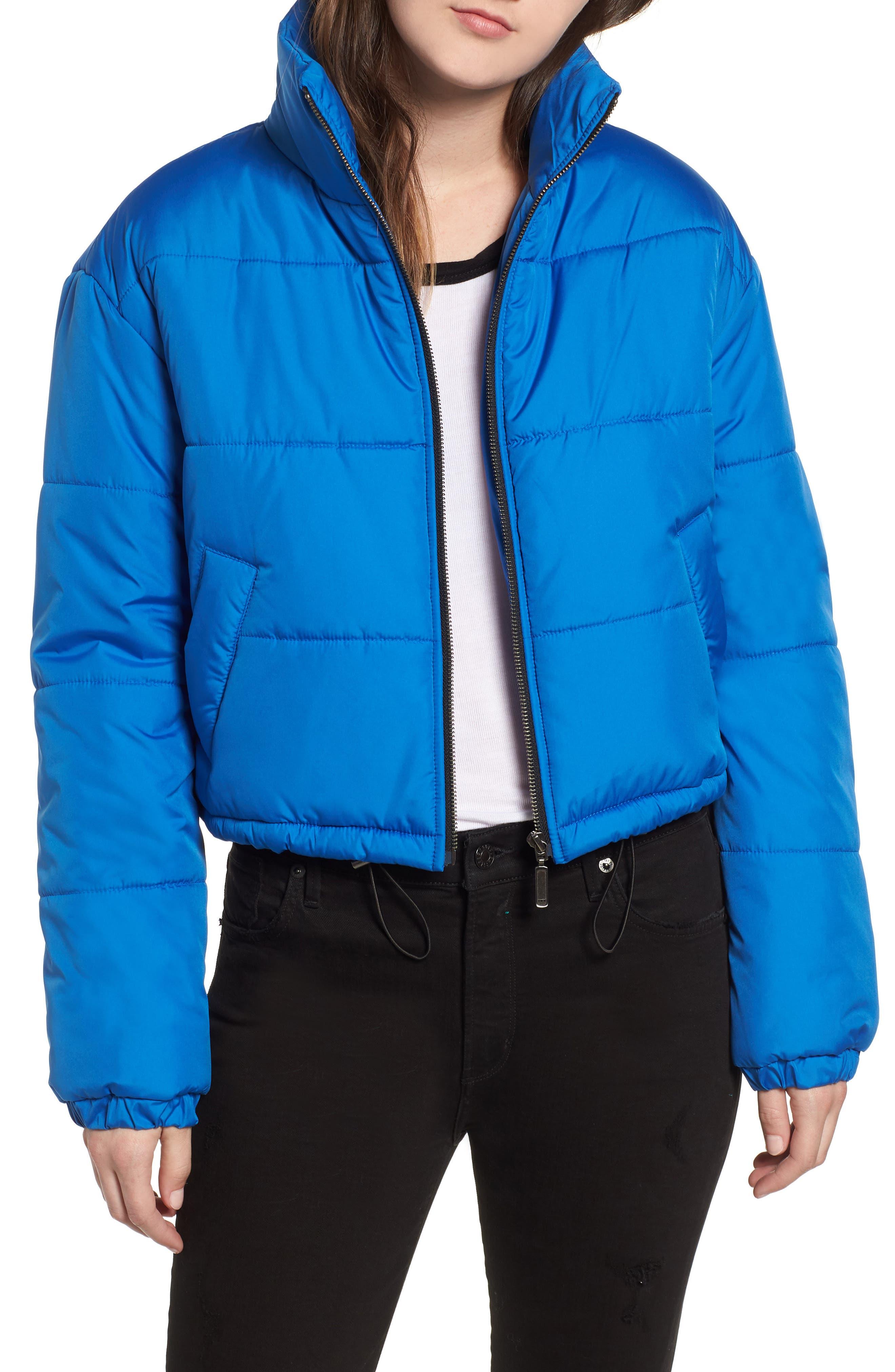 Crop Puffer Jacket,                             Main thumbnail 1, color,                             BLUE BOAT