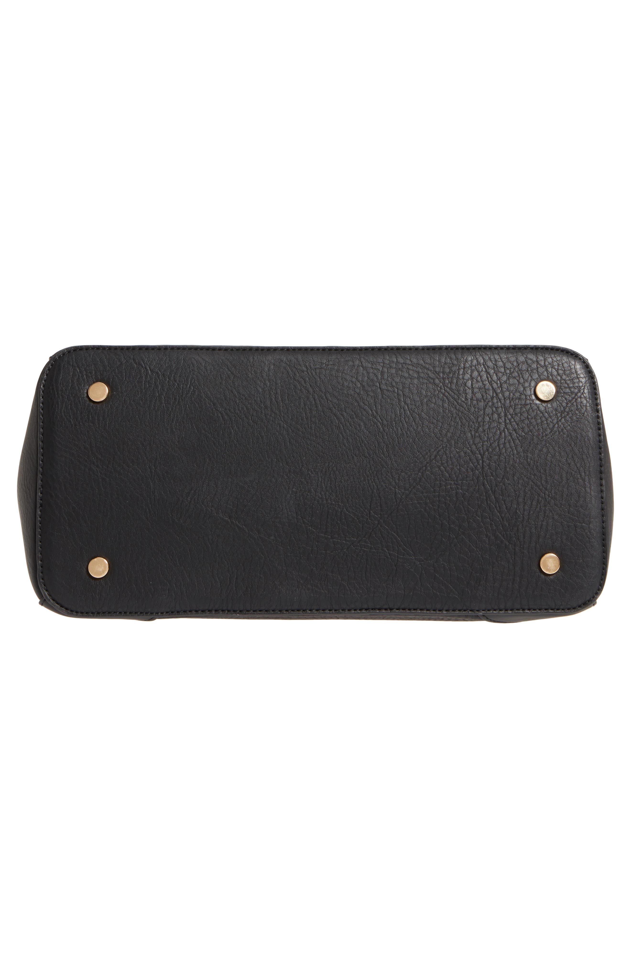 Sterling Faux Leather Satchel,                             Alternate thumbnail 6, color,                             BLACK