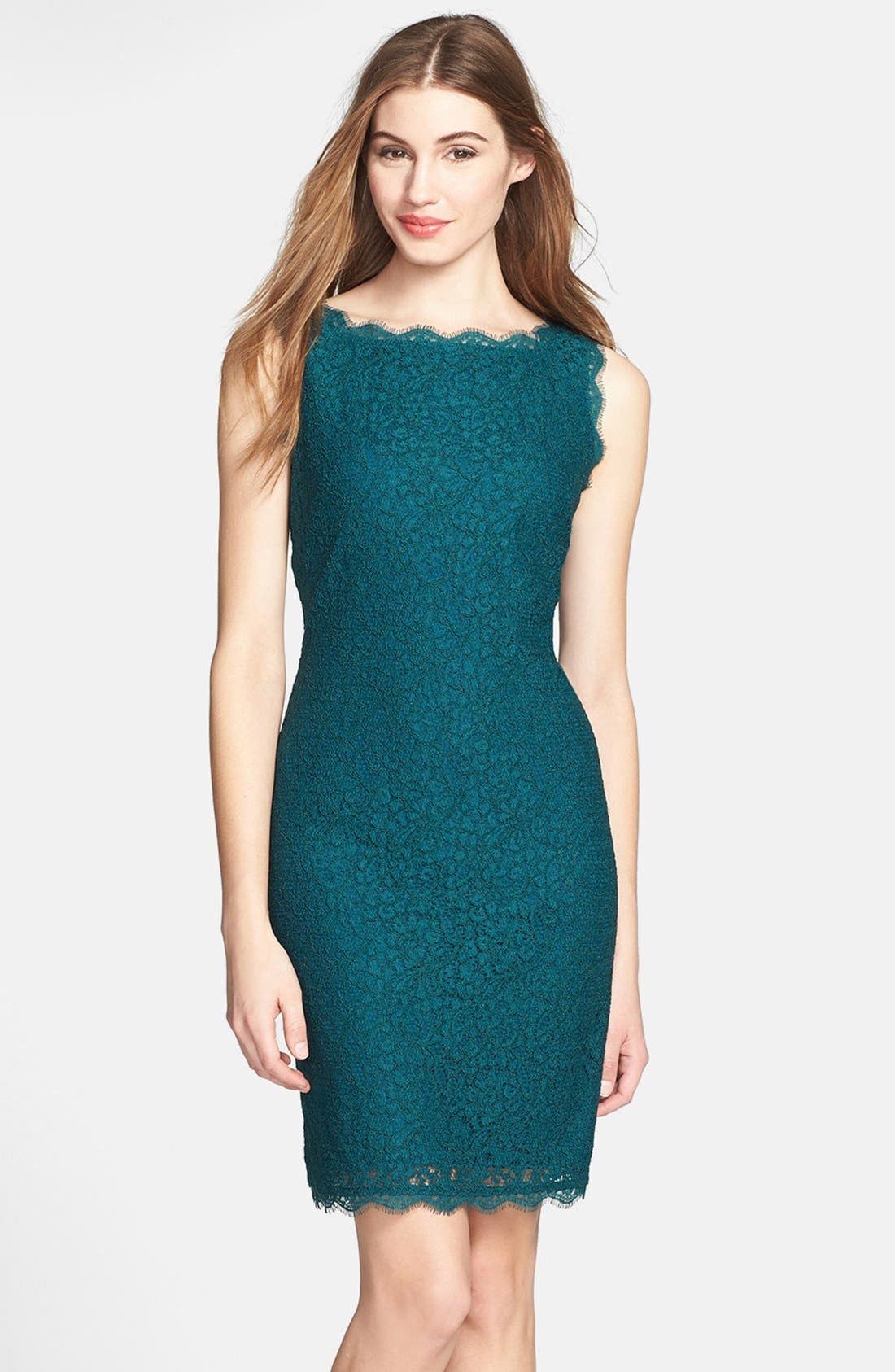 Boatneck Lace Sheath Dress,                             Main thumbnail 12, color,