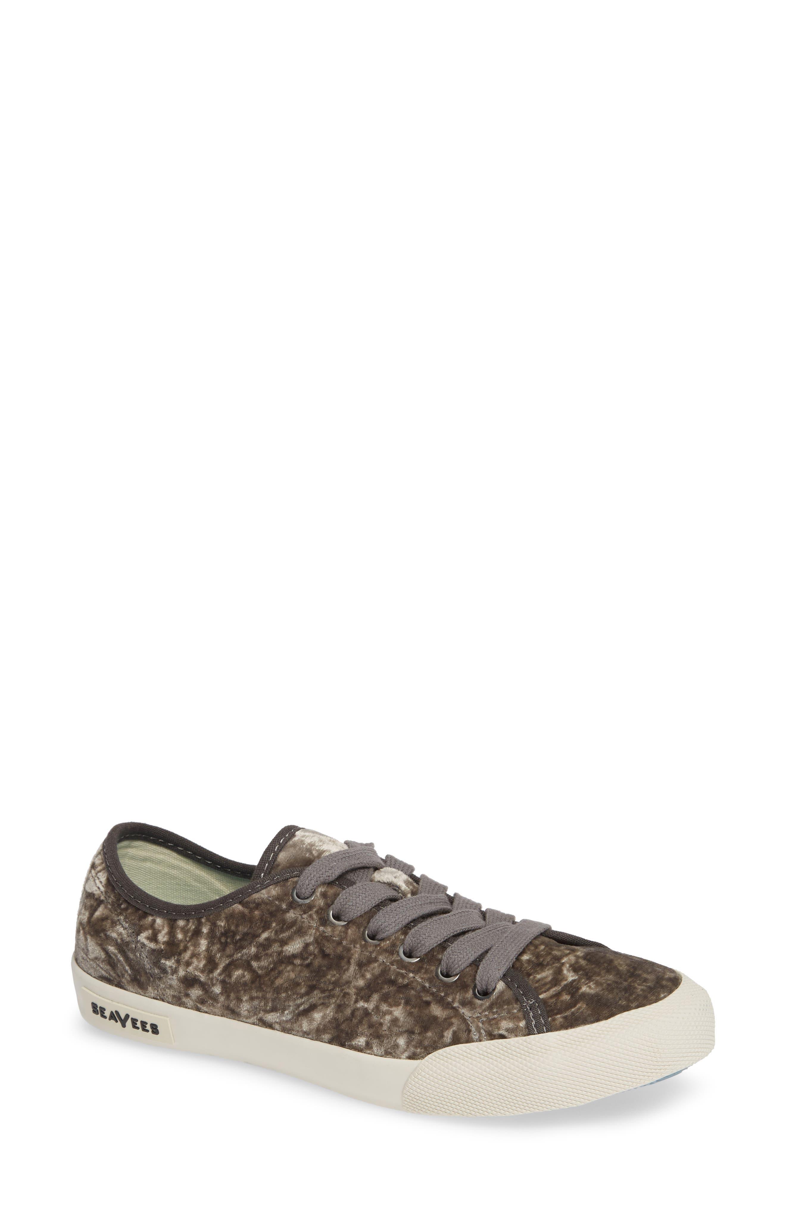 SEAVEES Monterey Crush Sneaker in Silver Velvet