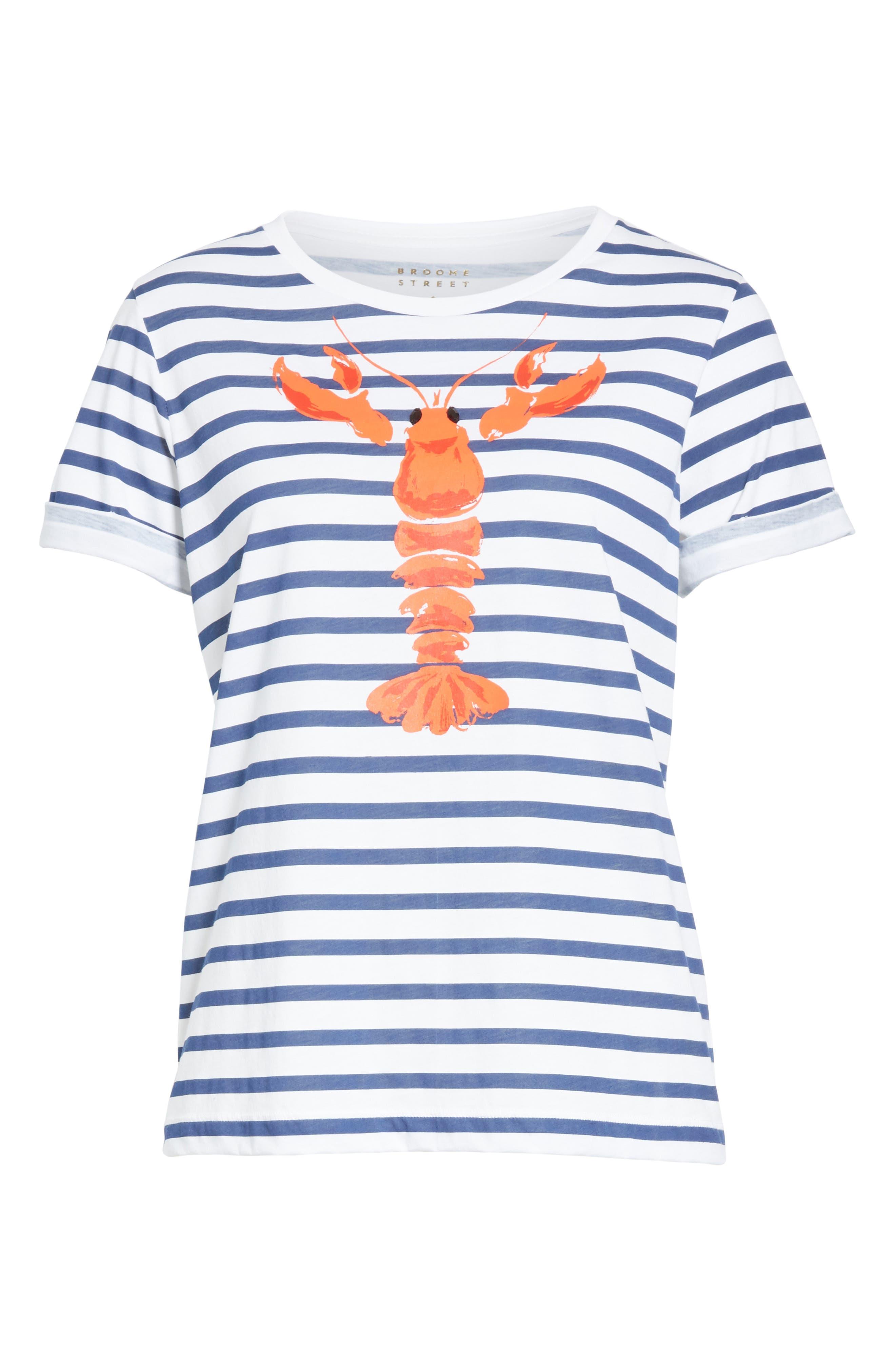 lobster stripe tee,                             Alternate thumbnail 6, color,                             107