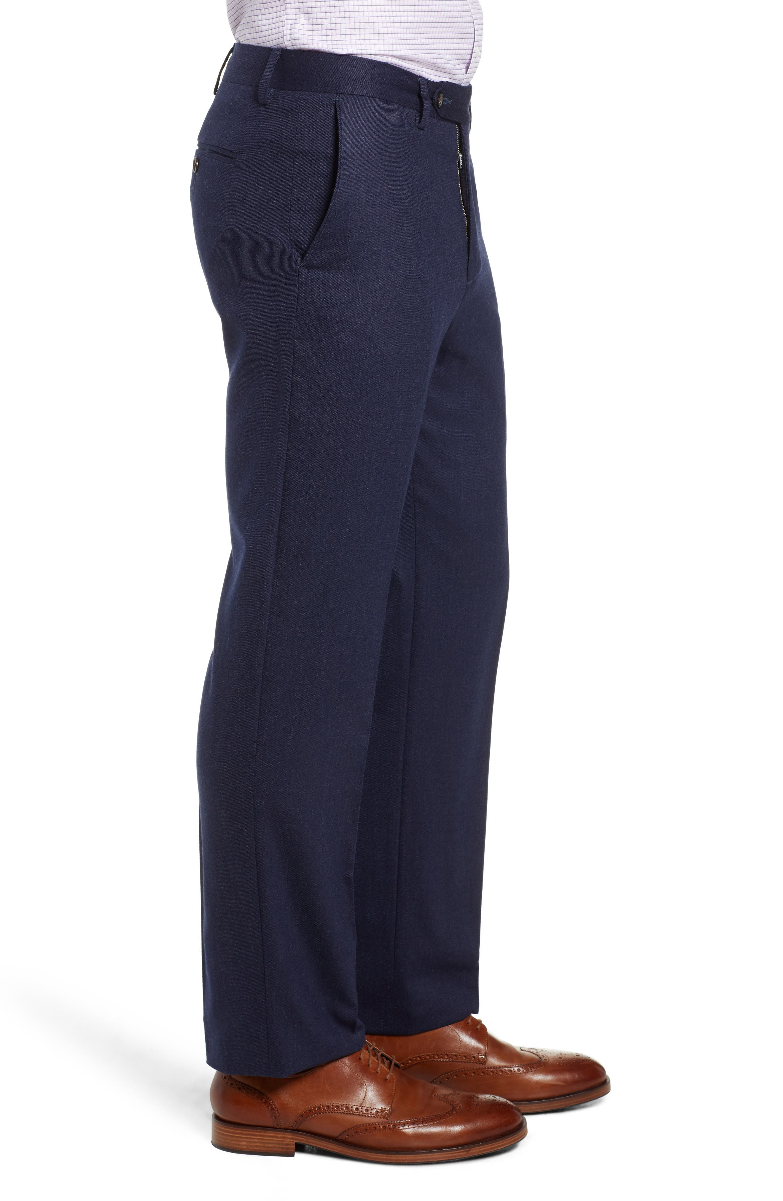 Flat Front Stretch Solid Wool & Cotton Trousers,                             Alternate thumbnail 3, color,                             BLUE