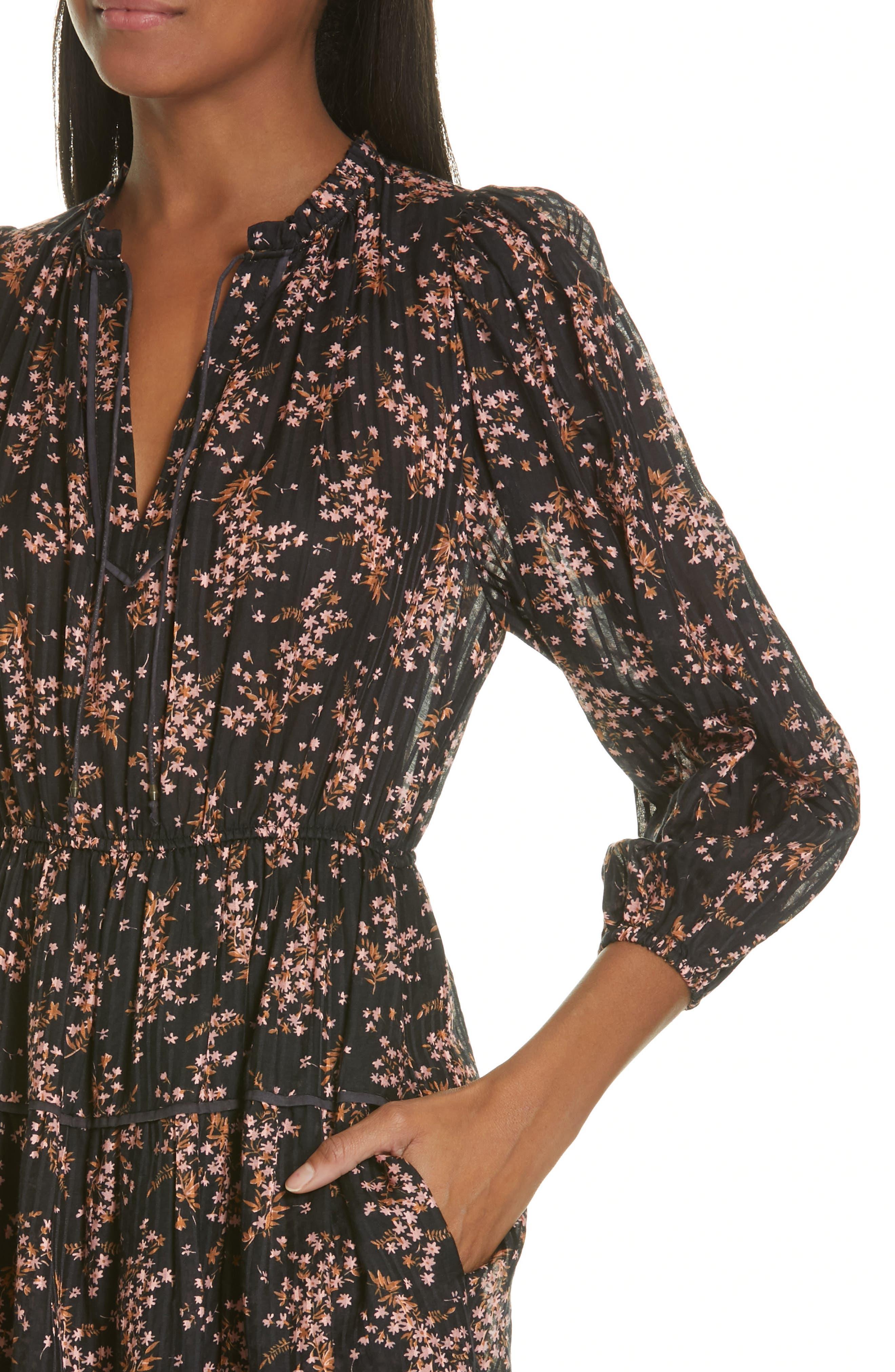 ULLA JOHNSON,                             Brienne Floral Print Cotton & Silk Minidress,                             Alternate thumbnail 4, color,                             JET