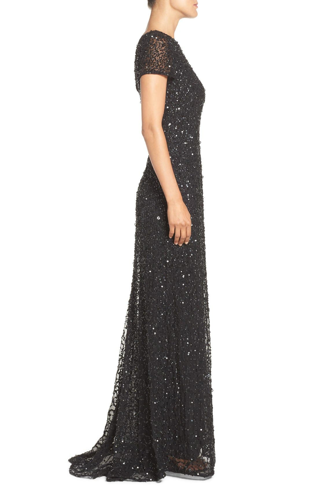 Short Sleeve Sequin Mesh Gown,                             Alternate thumbnail 5, color,                             002