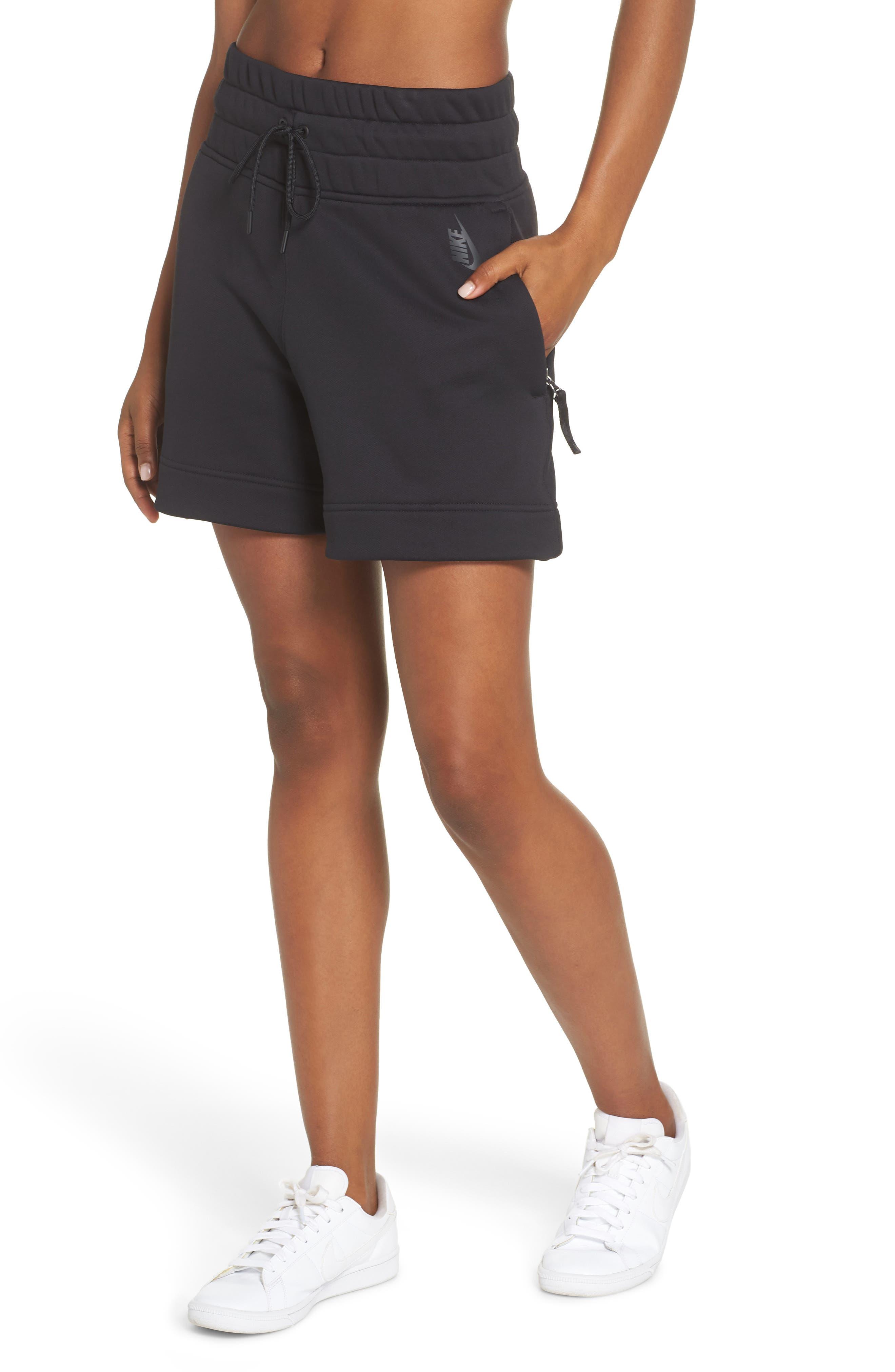 NikeLab Collection Women's Fleece Shorts,                             Main thumbnail 1, color,                             BLACK/ BLACK