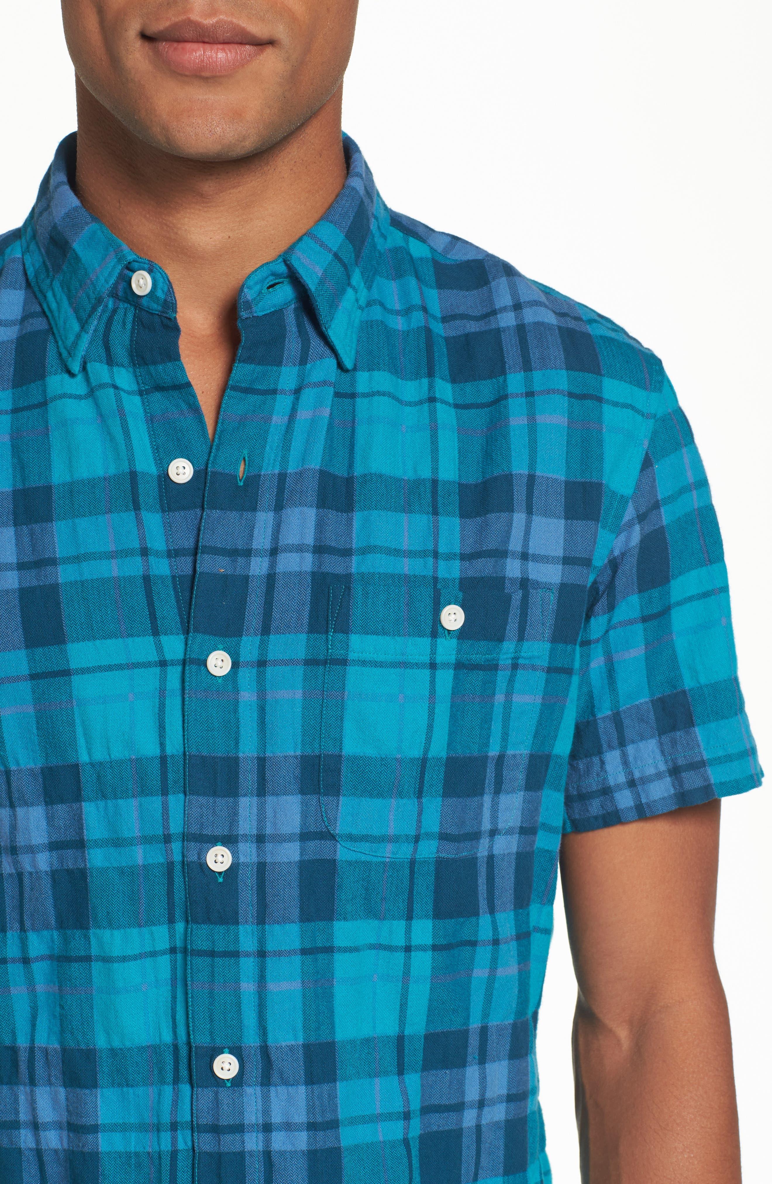 Riveria Slim Fit Check Woven Shirt,                             Alternate thumbnail 4, color,