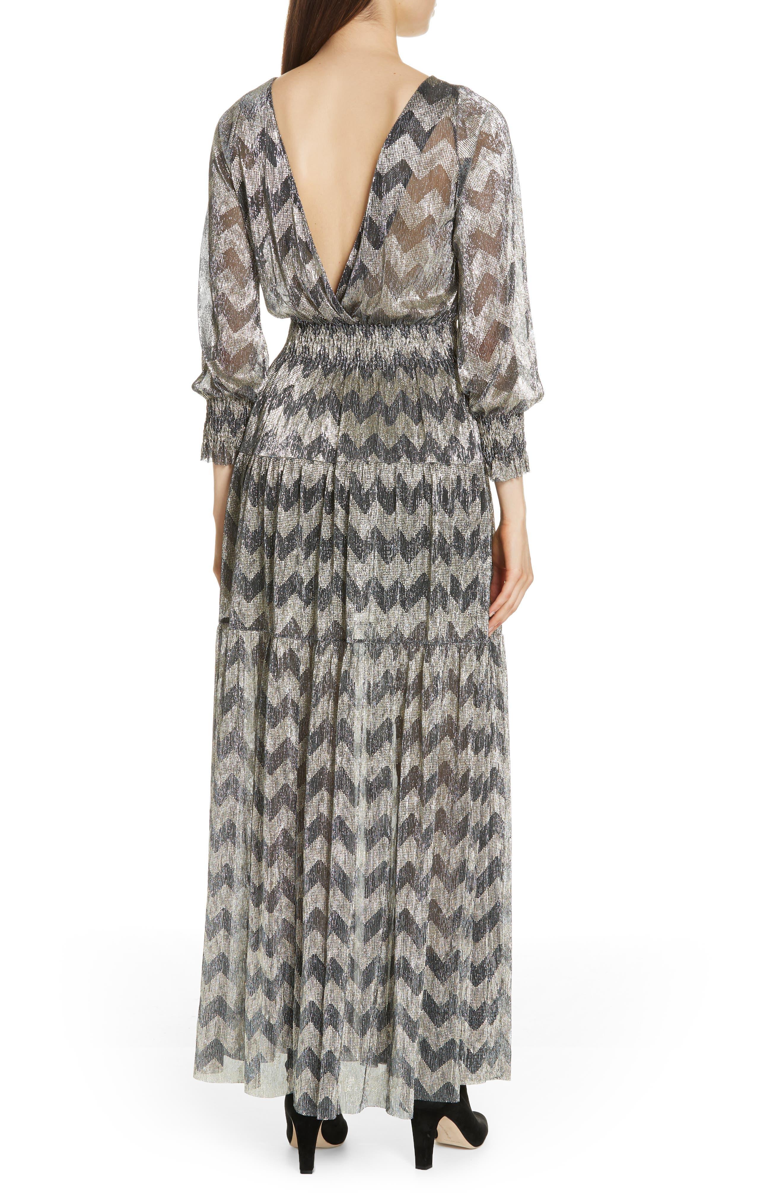 Grey Metallic Zigzag Maxi Dress,                             Alternate thumbnail 2, color,                             ANTHRACITE