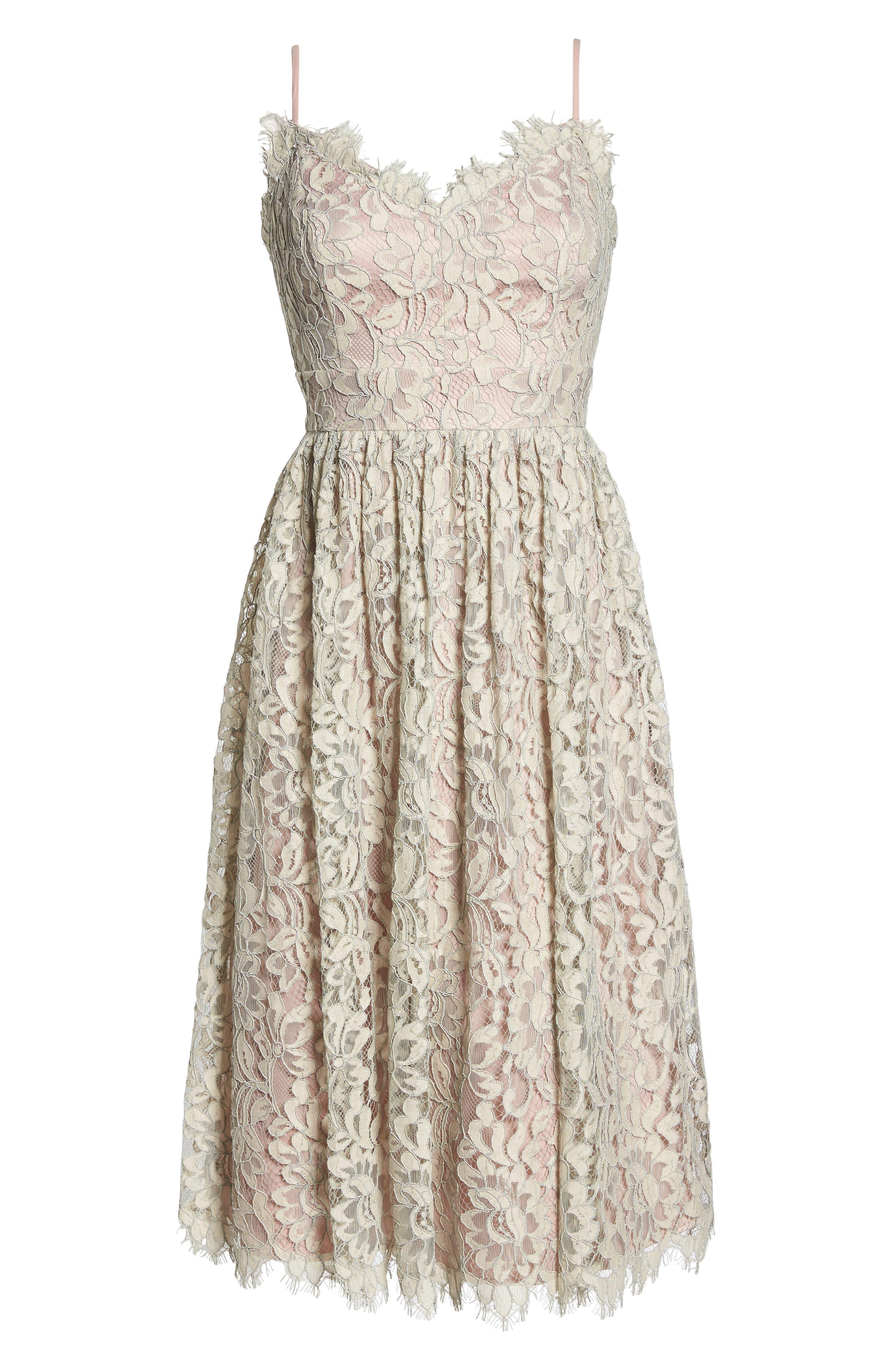 Lace Fit & Flare Dress,                             Alternate thumbnail 7, color,                             900