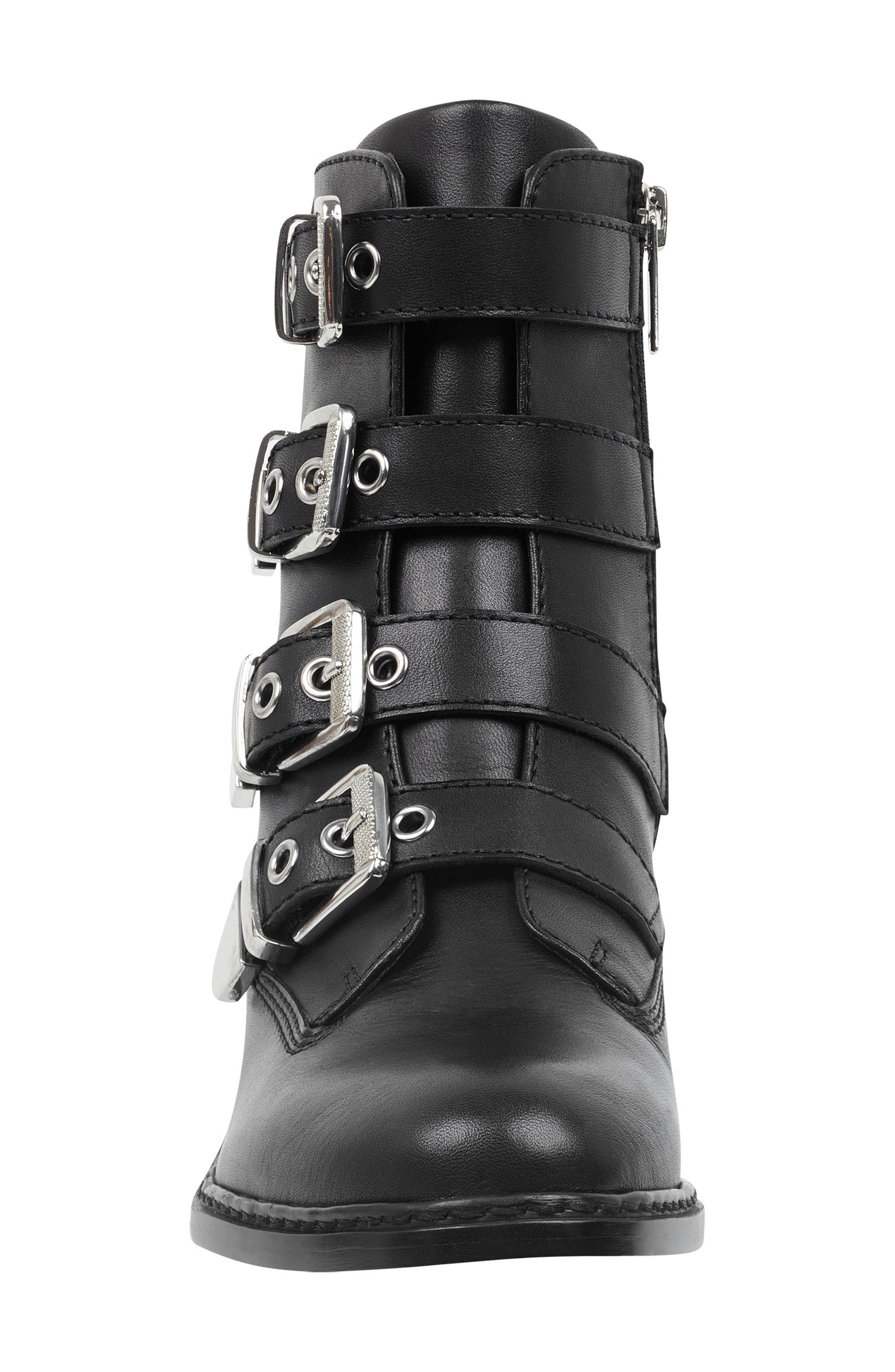 Buckle Boot,                             Alternate thumbnail 4, color,                             BLACK LEATHER