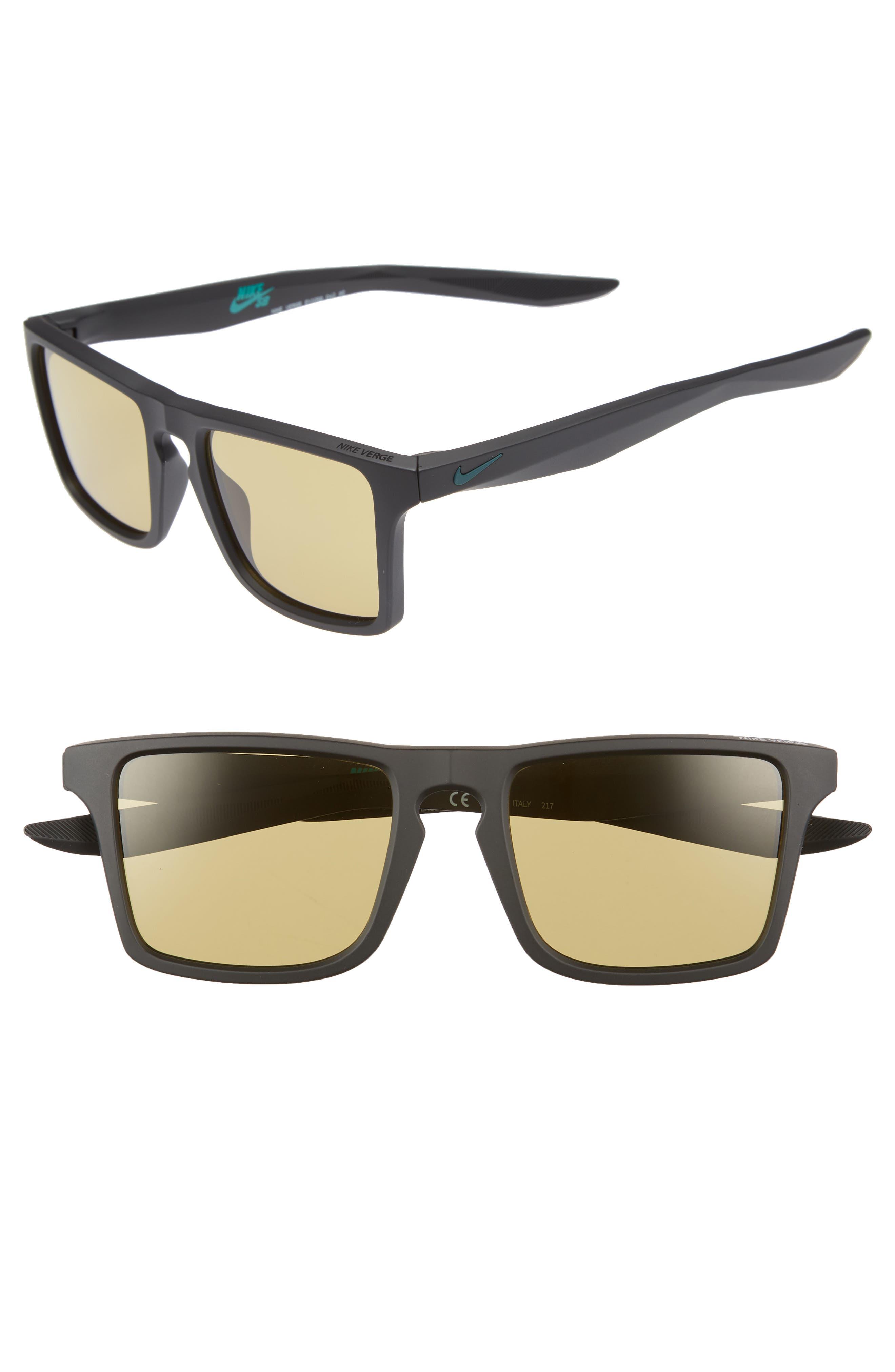 Nike Verge 52Mm Sunglasses - Matte Black/ Amber