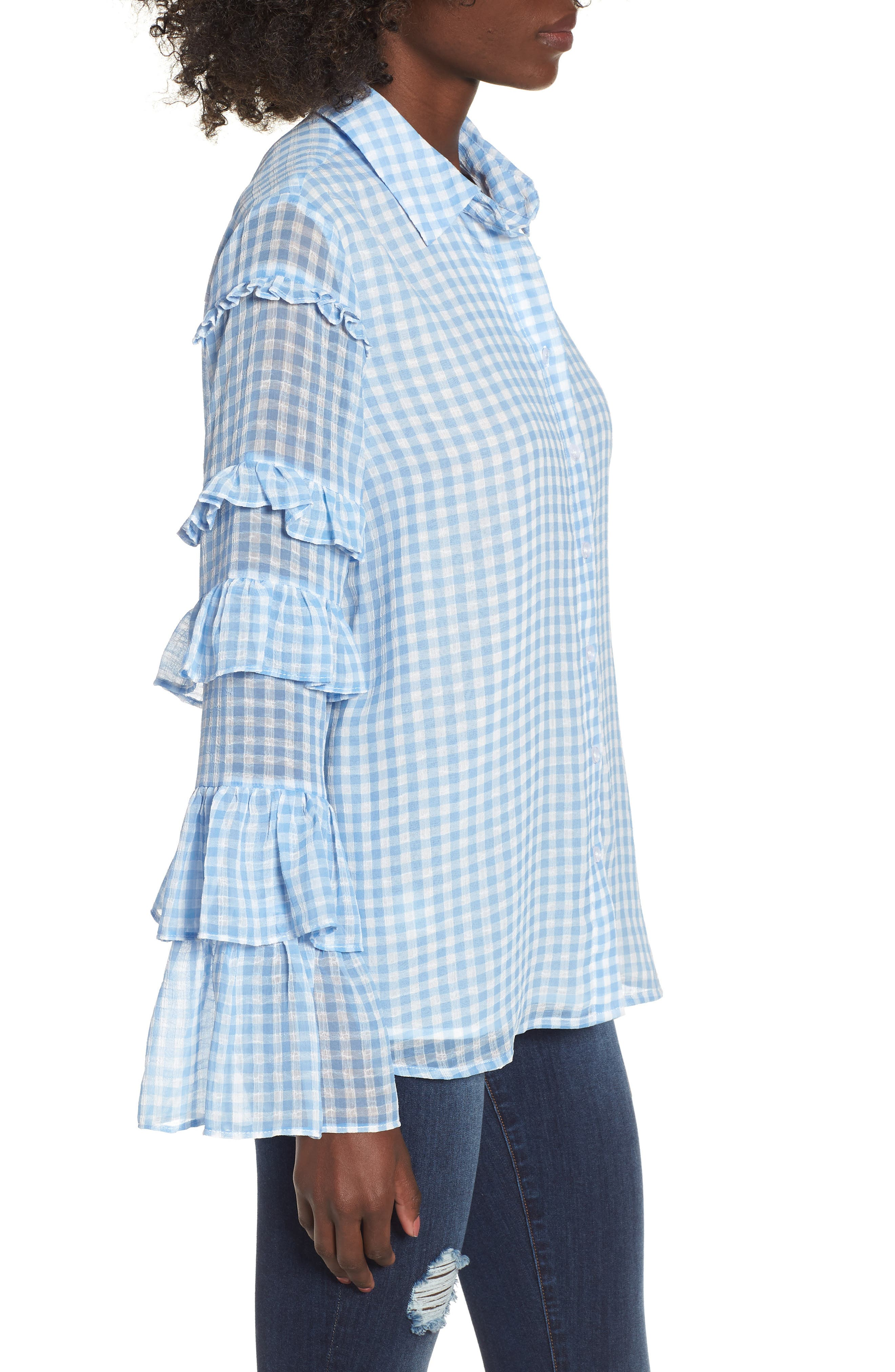 Ruffle Sleeve Shirt,                             Alternate thumbnail 3, color,                             400