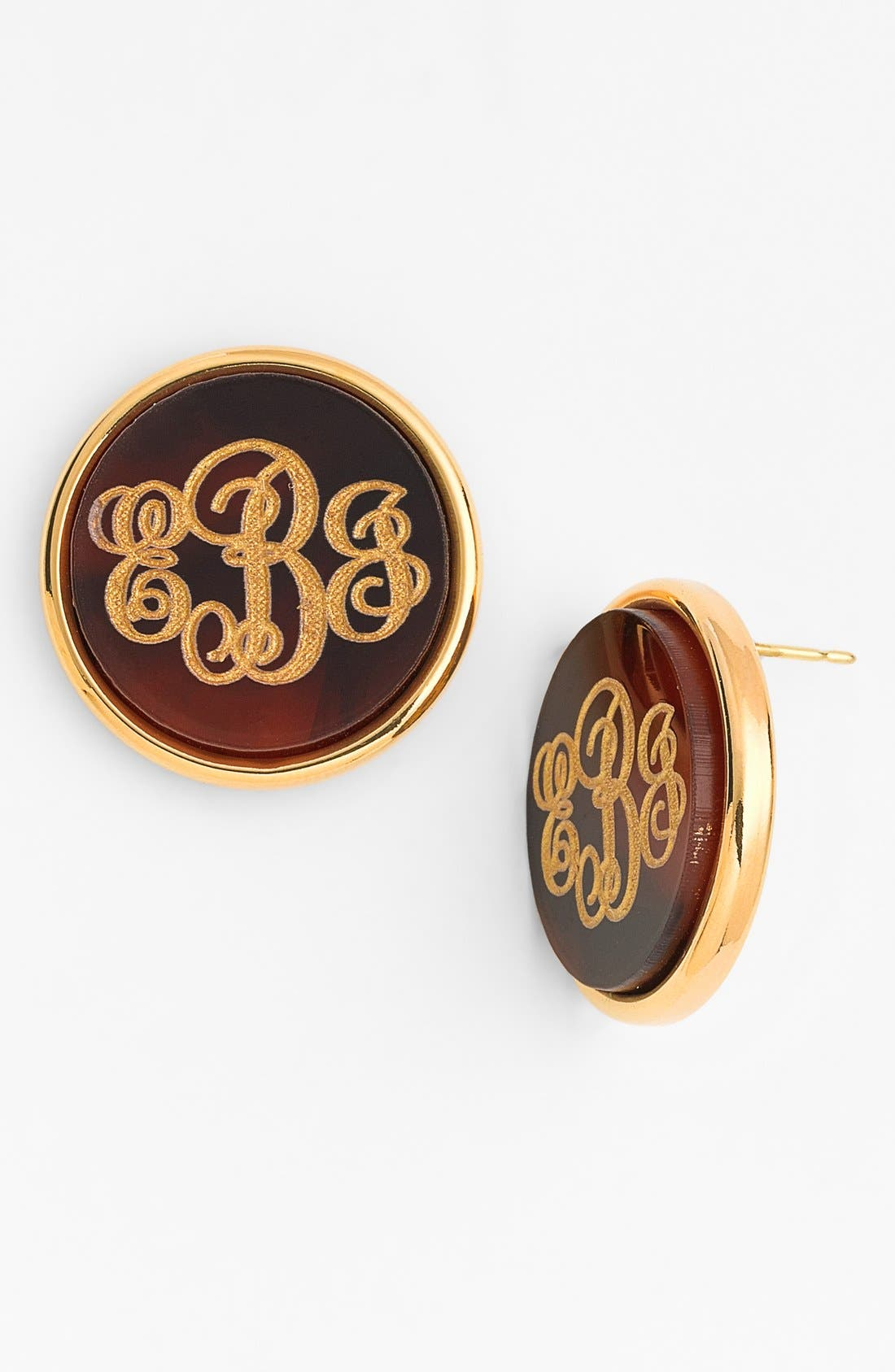 'Vineyard' Personalized Monogram Stud Earrings,                             Main thumbnail 1, color,                             TORTOISE
