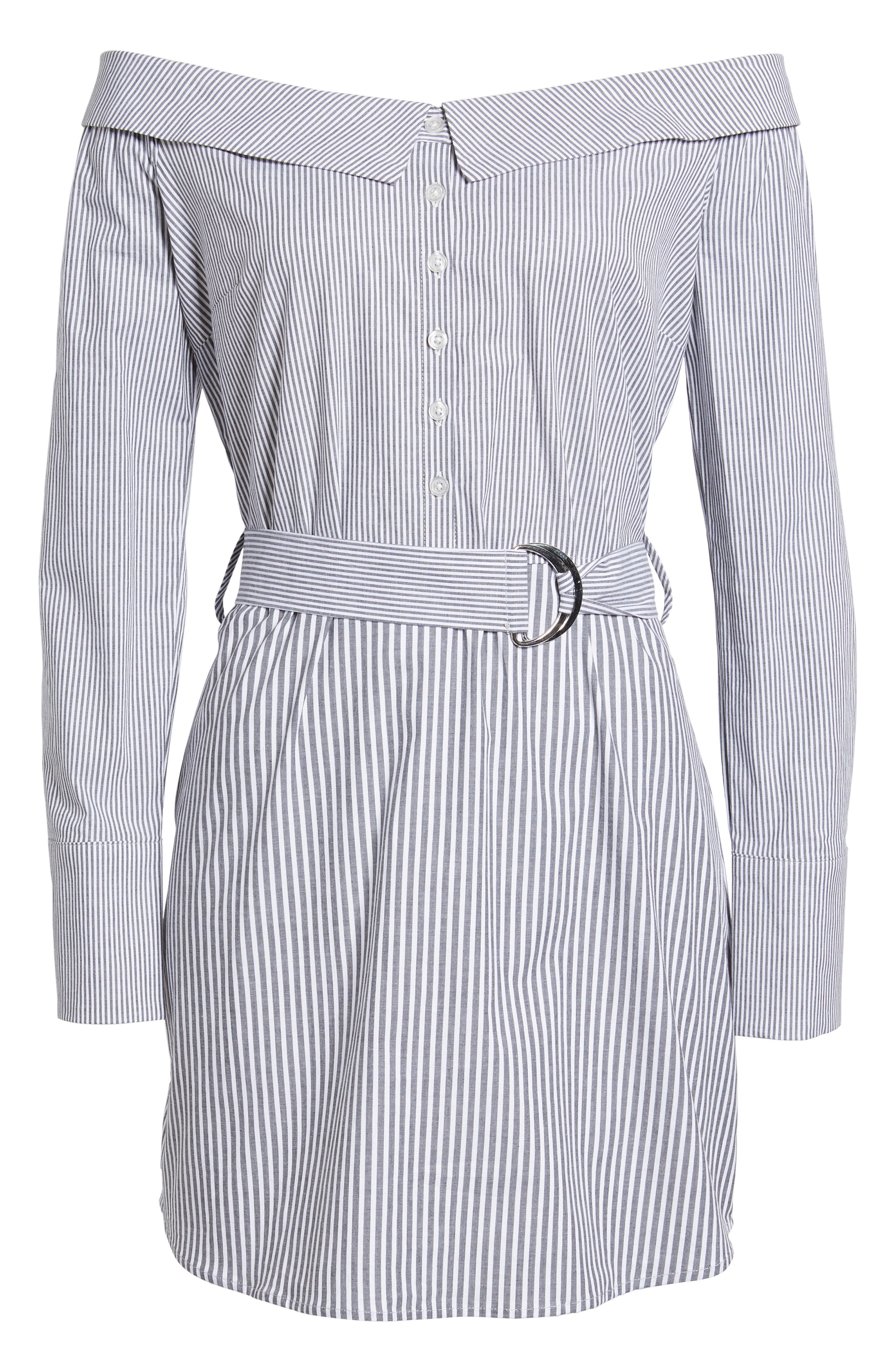 Portrait Neck Stripe Poplin Shirtdress,                             Alternate thumbnail 6, color,                             002