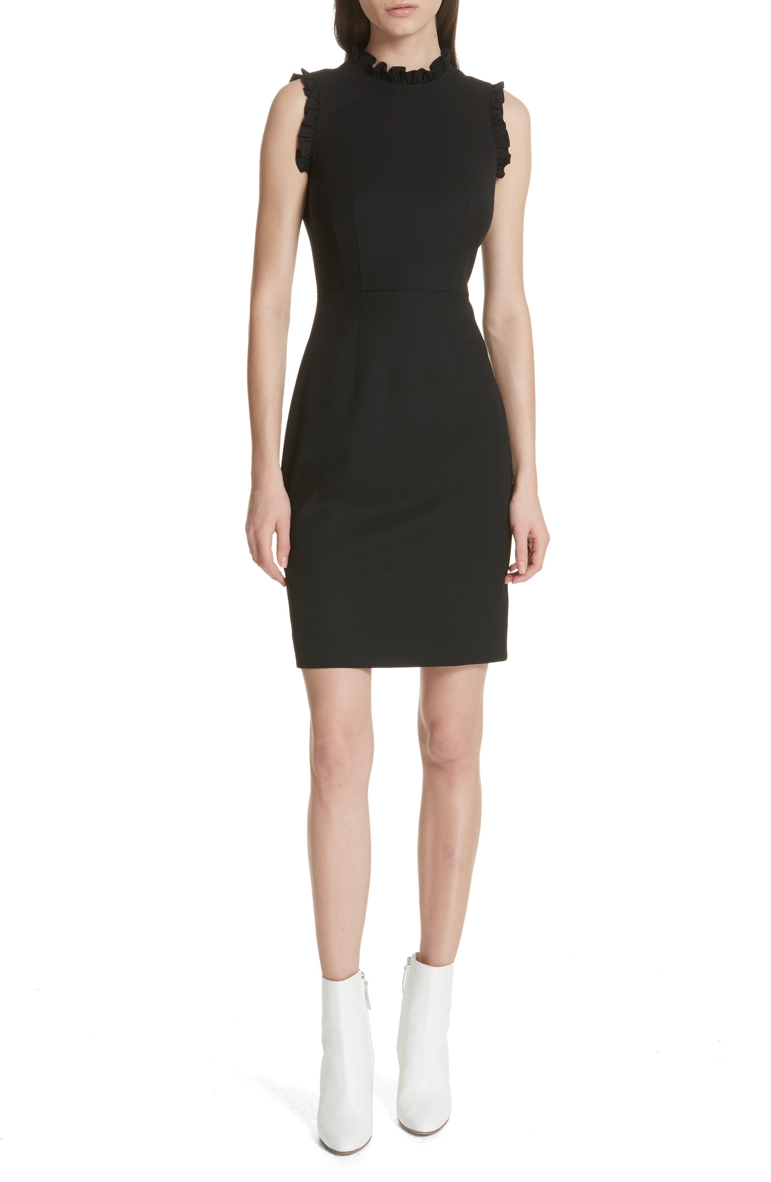 Spring Ruffle Dress,                             Main thumbnail 1, color,                             BLACK