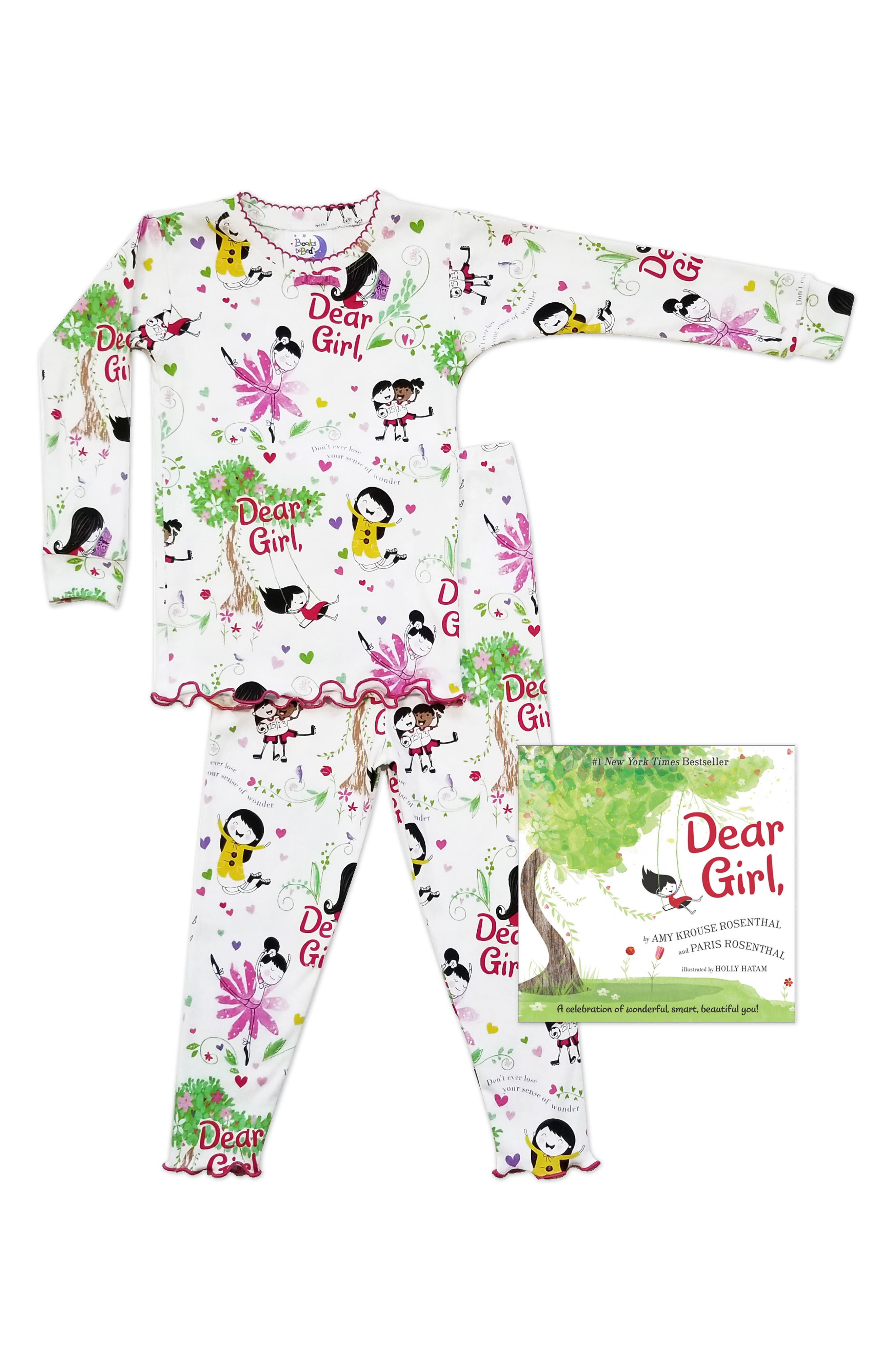 Dear Girl Fitted Two-Piece Pajamas & Book Set,                         Main,                         color, WHITE