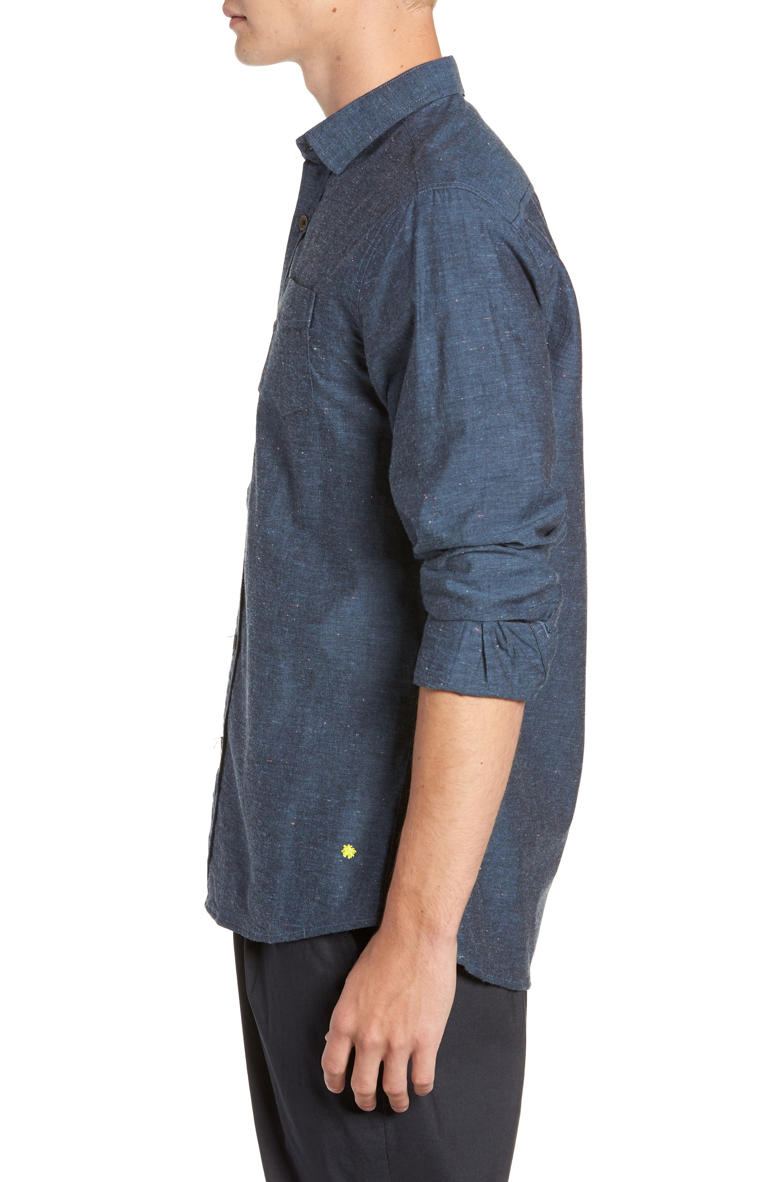 Neppy Chambray Sport Shirt,                             Alternate thumbnail 4, color,                             BLUE/GREY