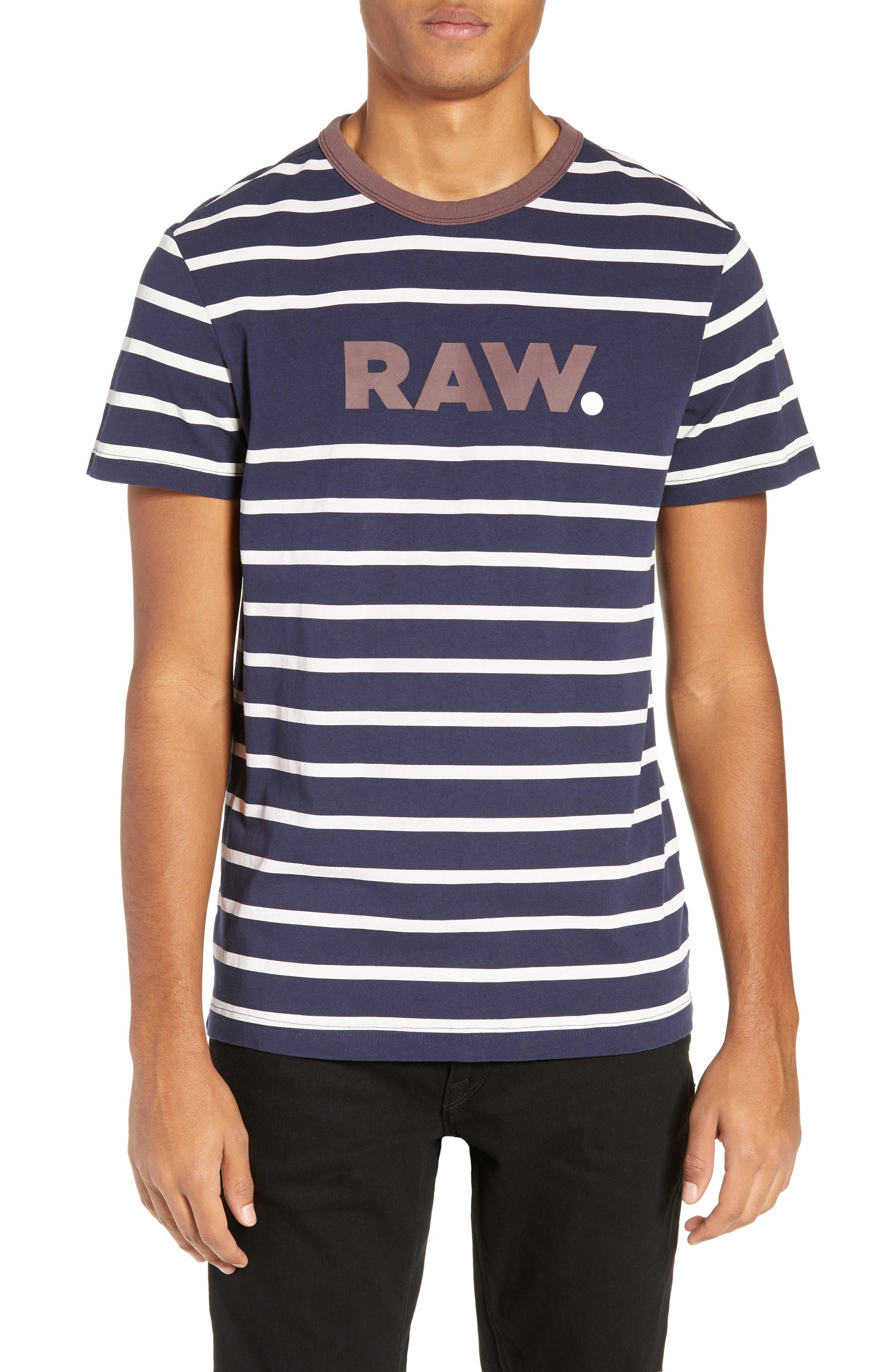 Mow Stripe Logo T-Shirt,                         Main,                         color, SARTHO BLUE/ WHITE