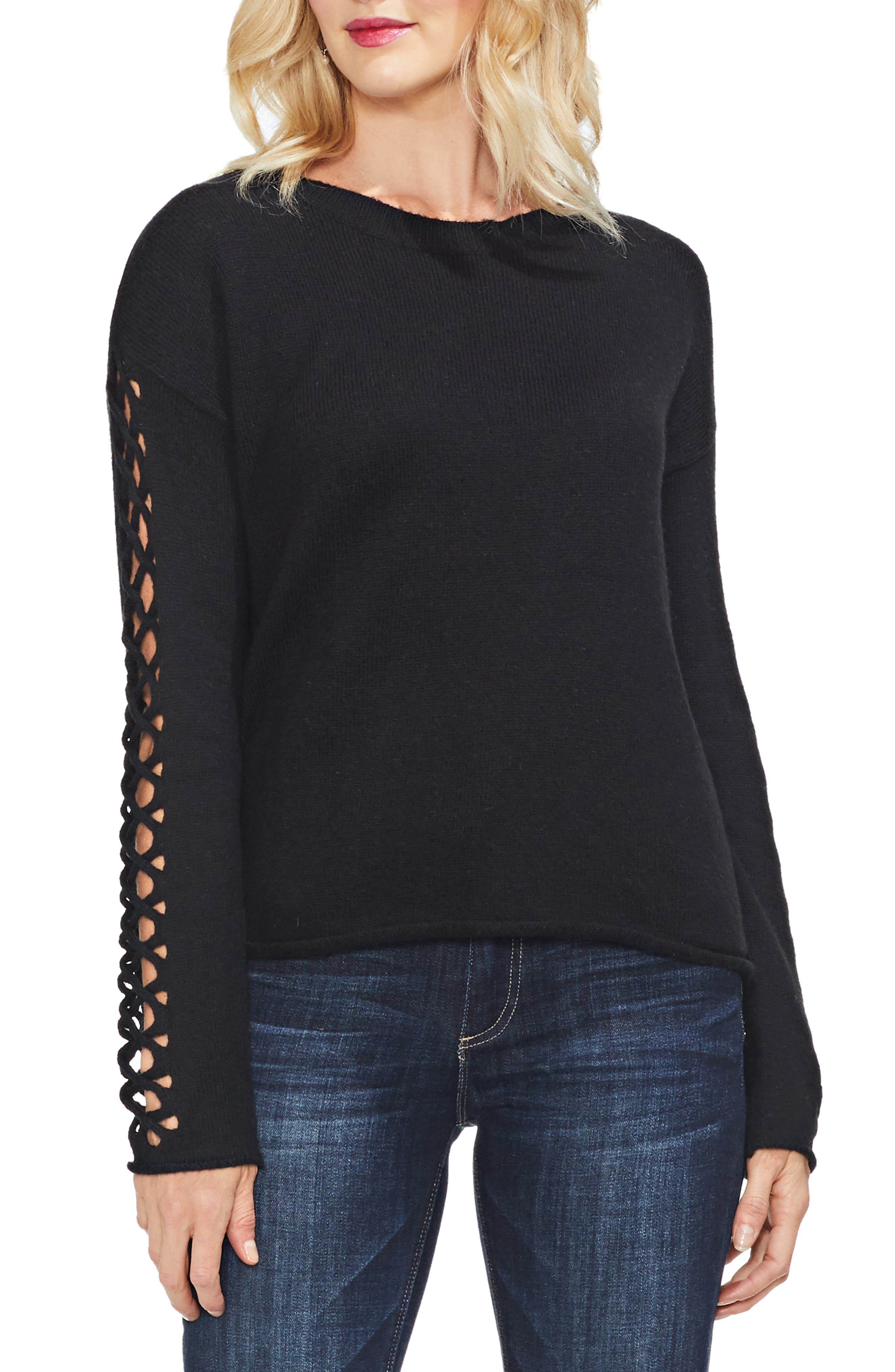 VINCE CAMUTO,                             Lattice Sleeve Cotton Blend Sweater,                             Main thumbnail 1, color,                             006