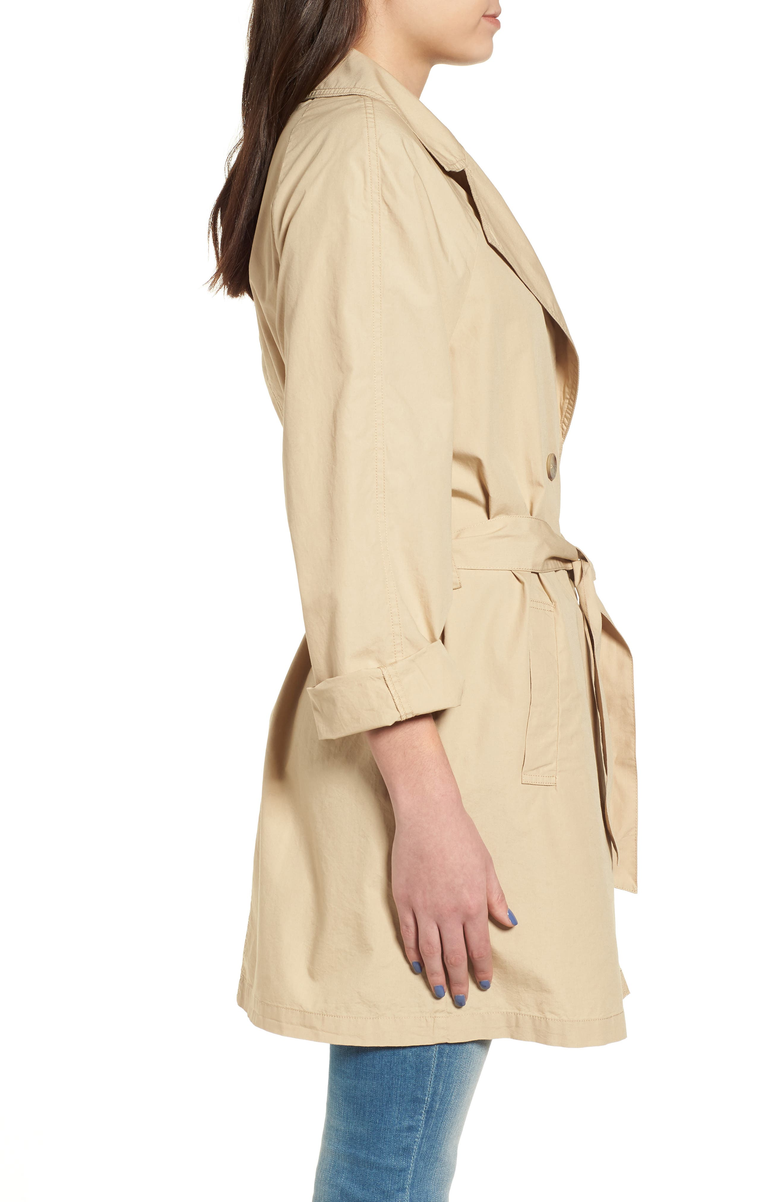 Double Breasted Belted Trench Coat,                             Alternate thumbnail 3, color,                             260