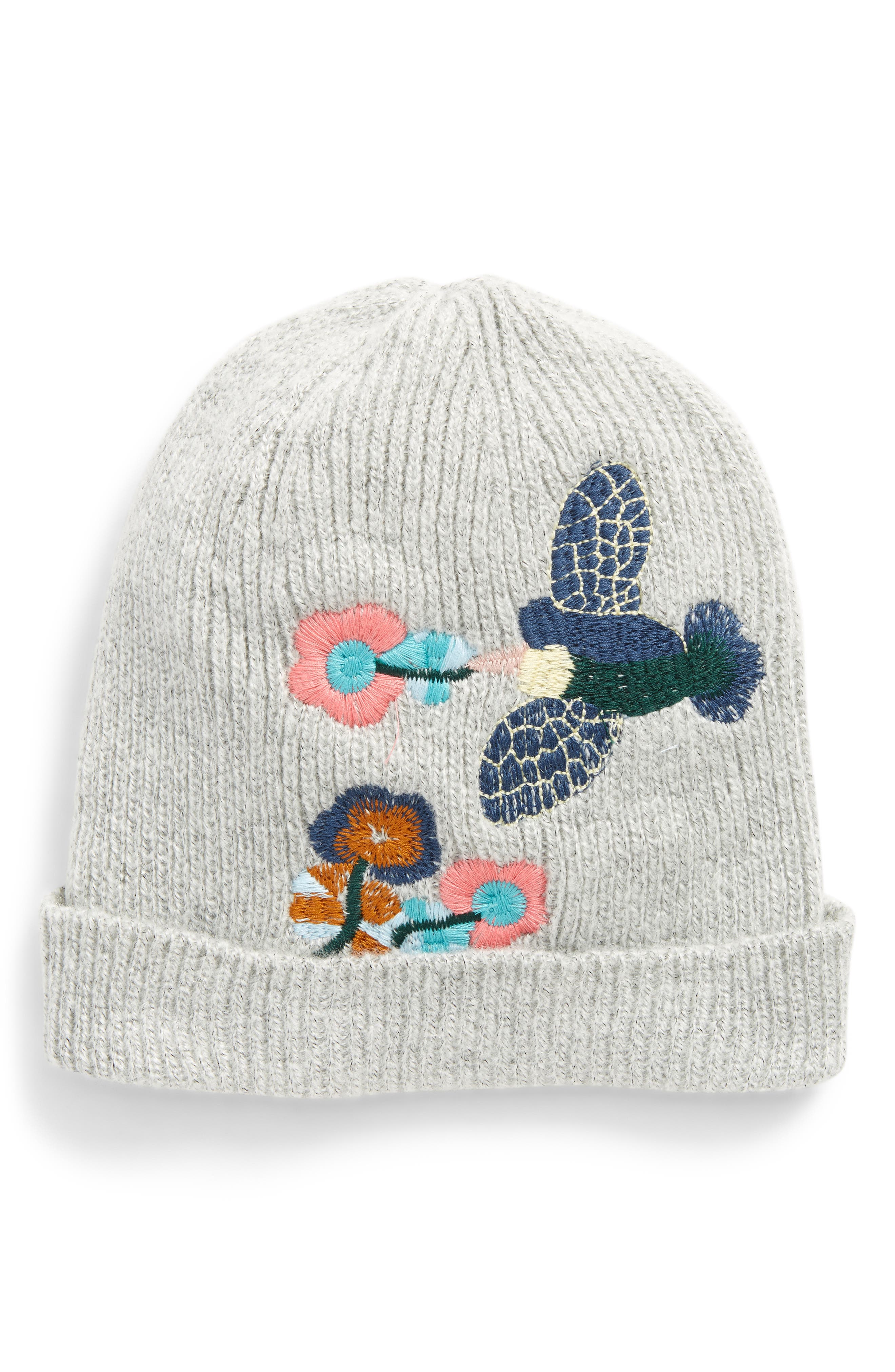 Embroidered Bird Beanie,                             Main thumbnail 1, color,                             050
