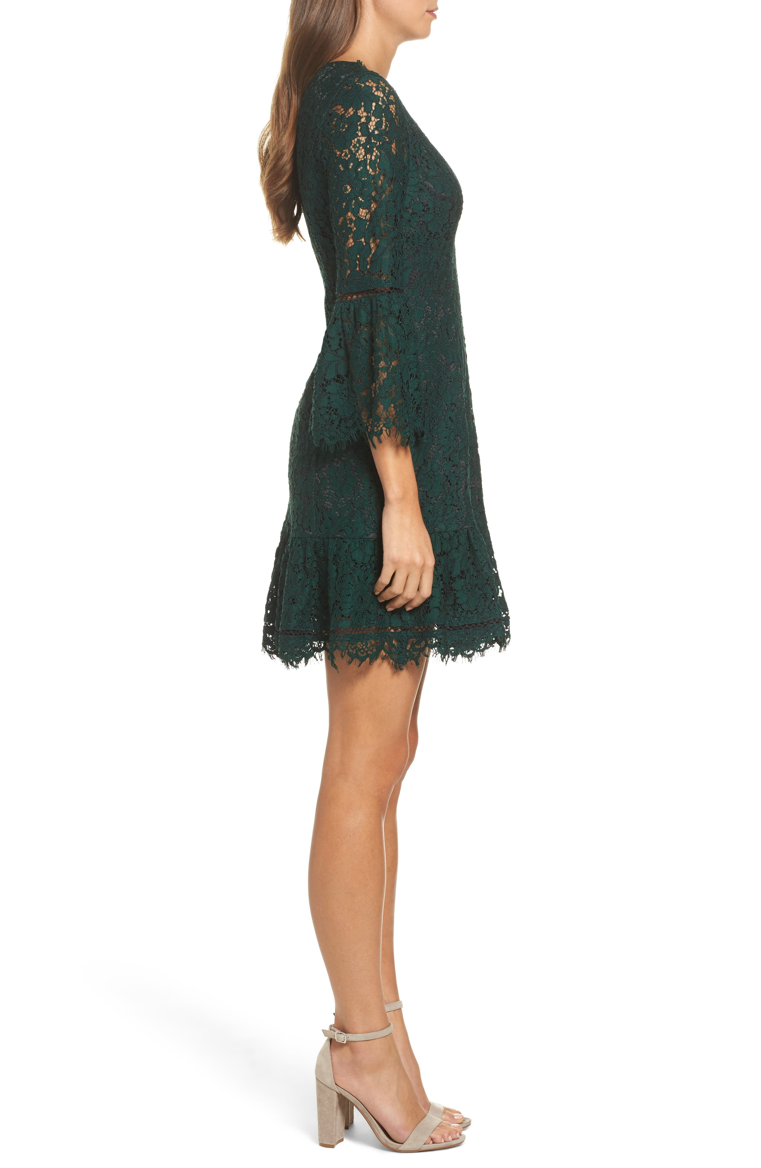 ELIZA J,                             Bell Sleeve Lace Cocktail Dress,                             Alternate thumbnail 3, color,                             GREEN/ BLACK