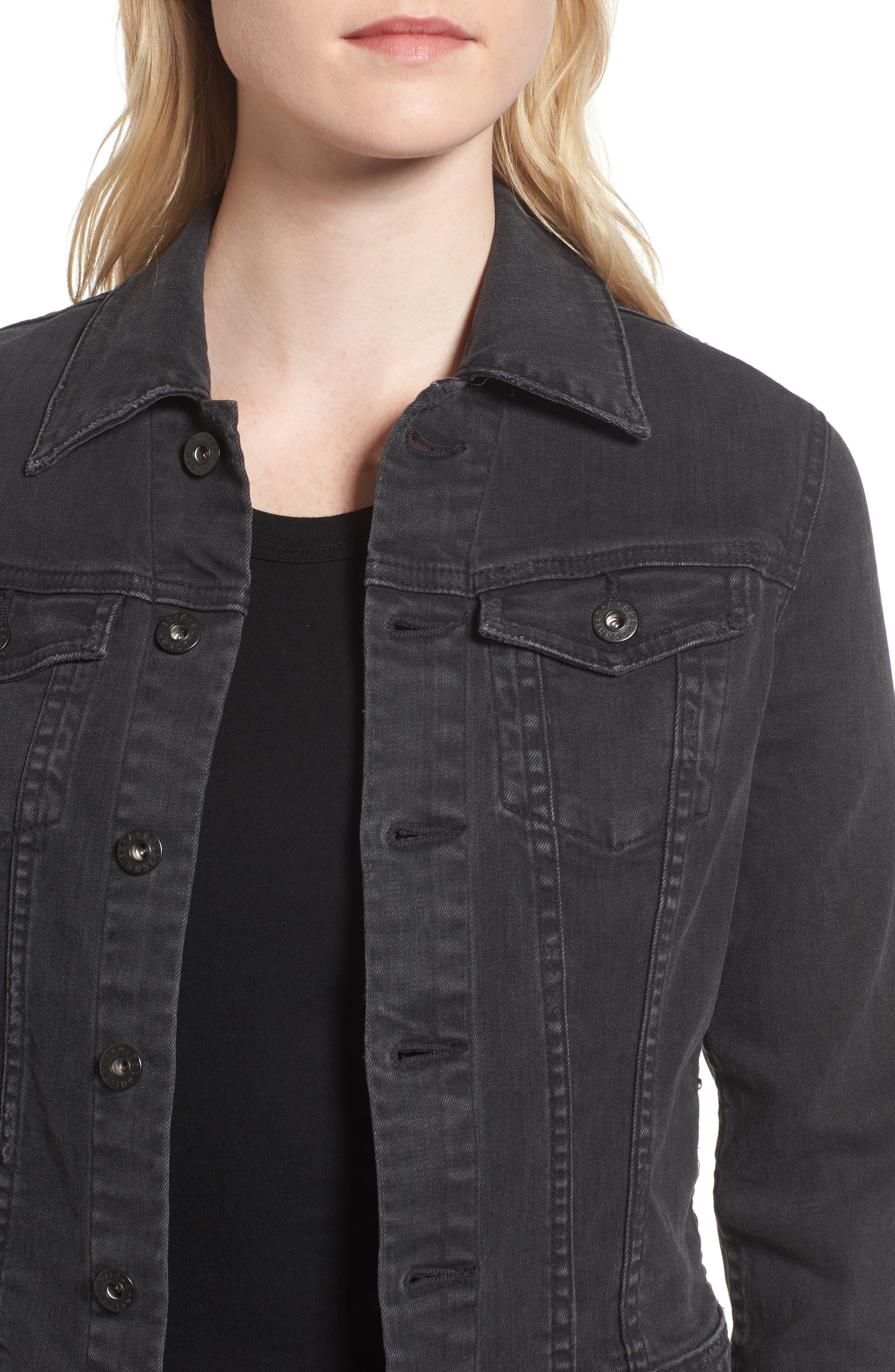 'Robyn' Crop Denim Jacket,                             Alternate thumbnail 4, color,                             014