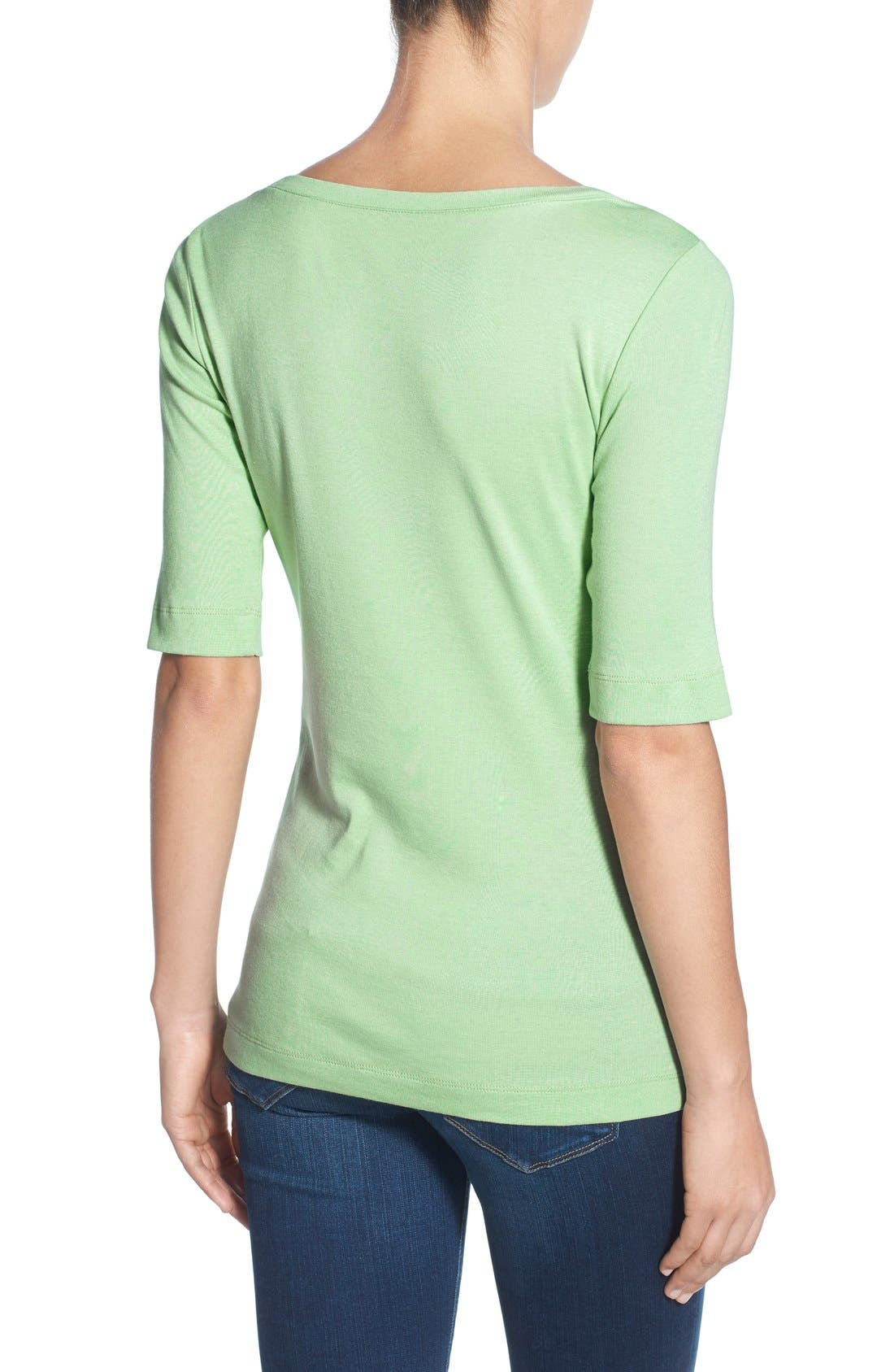 Ballet Neck Cotton & Modal Knit Elbow Sleeve Tee,                             Alternate thumbnail 77, color,