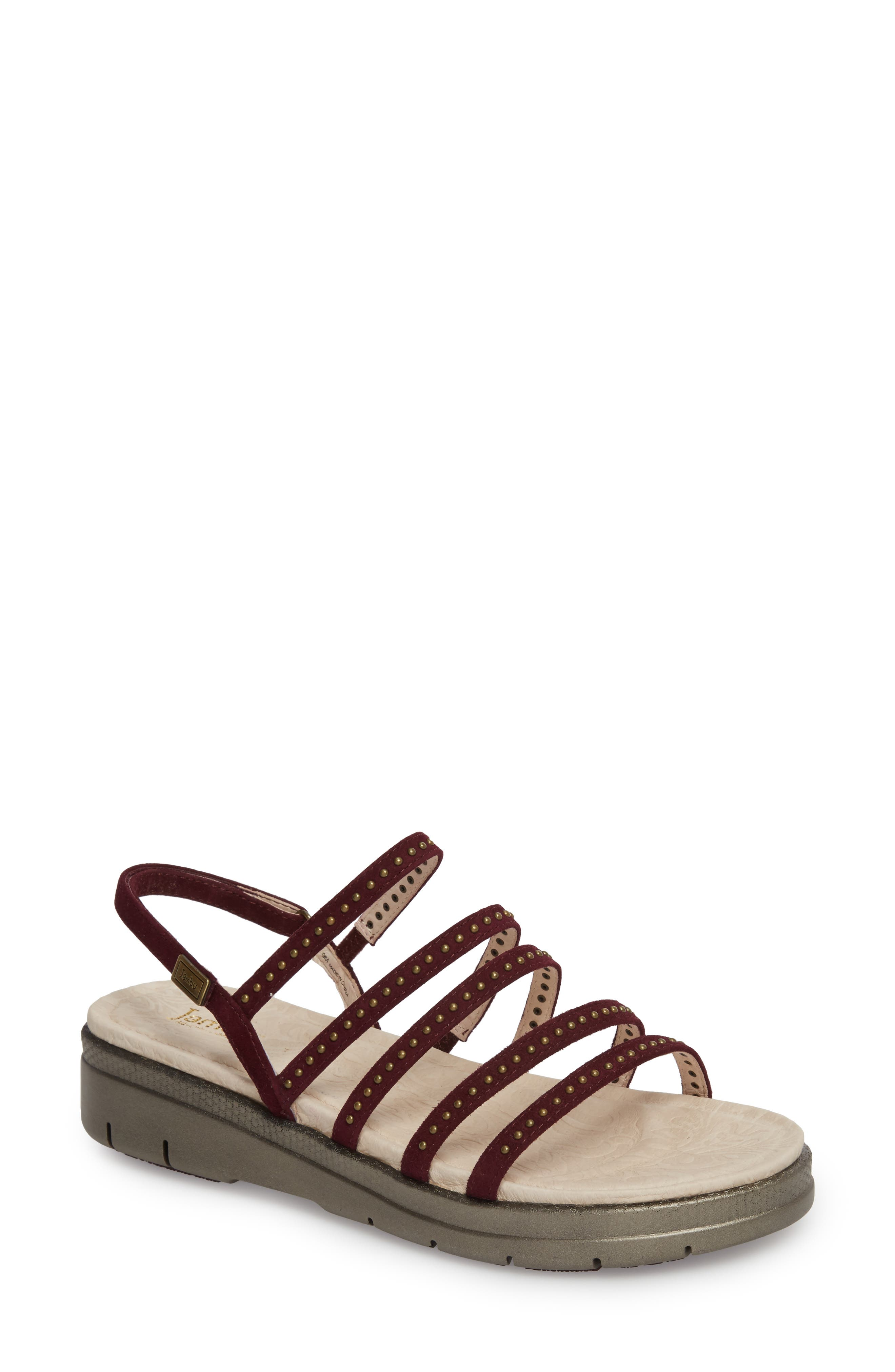 Elegance Studded Strappy Sandal,                             Main thumbnail 1, color,                             WINE SUEDE