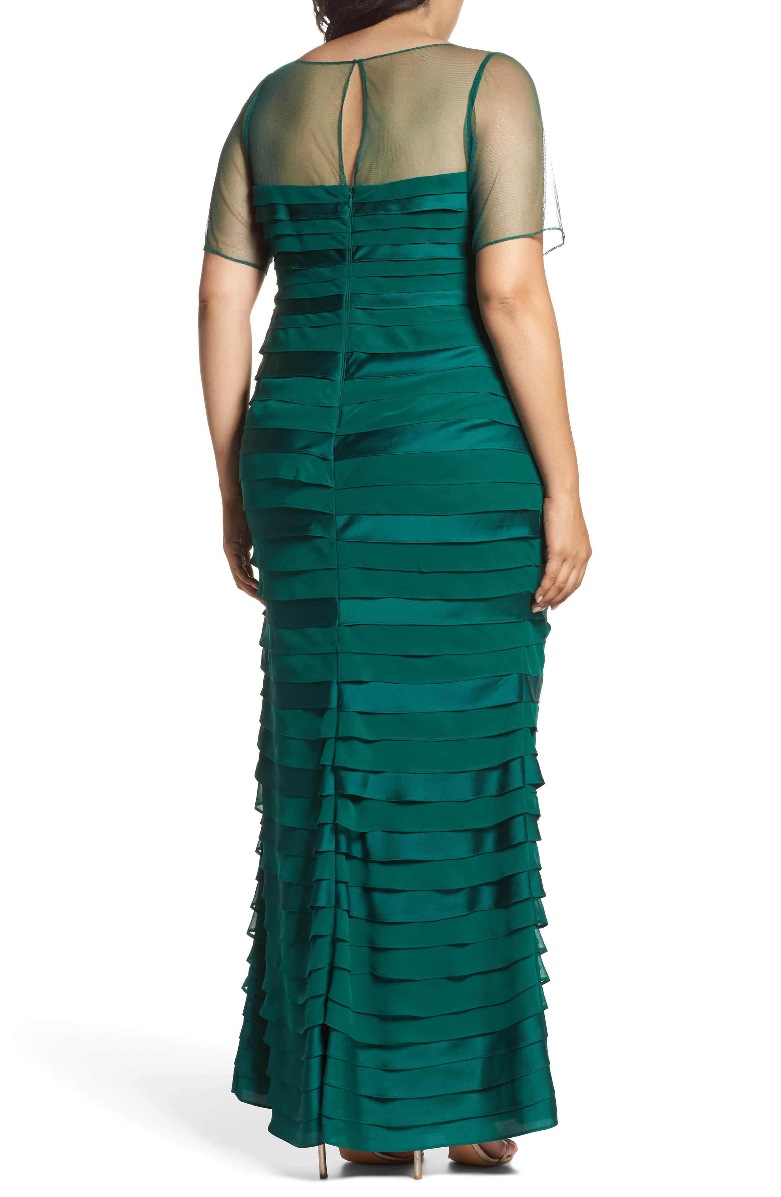 Illusion Neck Shutter Pleat Gown,                             Alternate thumbnail 3, color,                             303