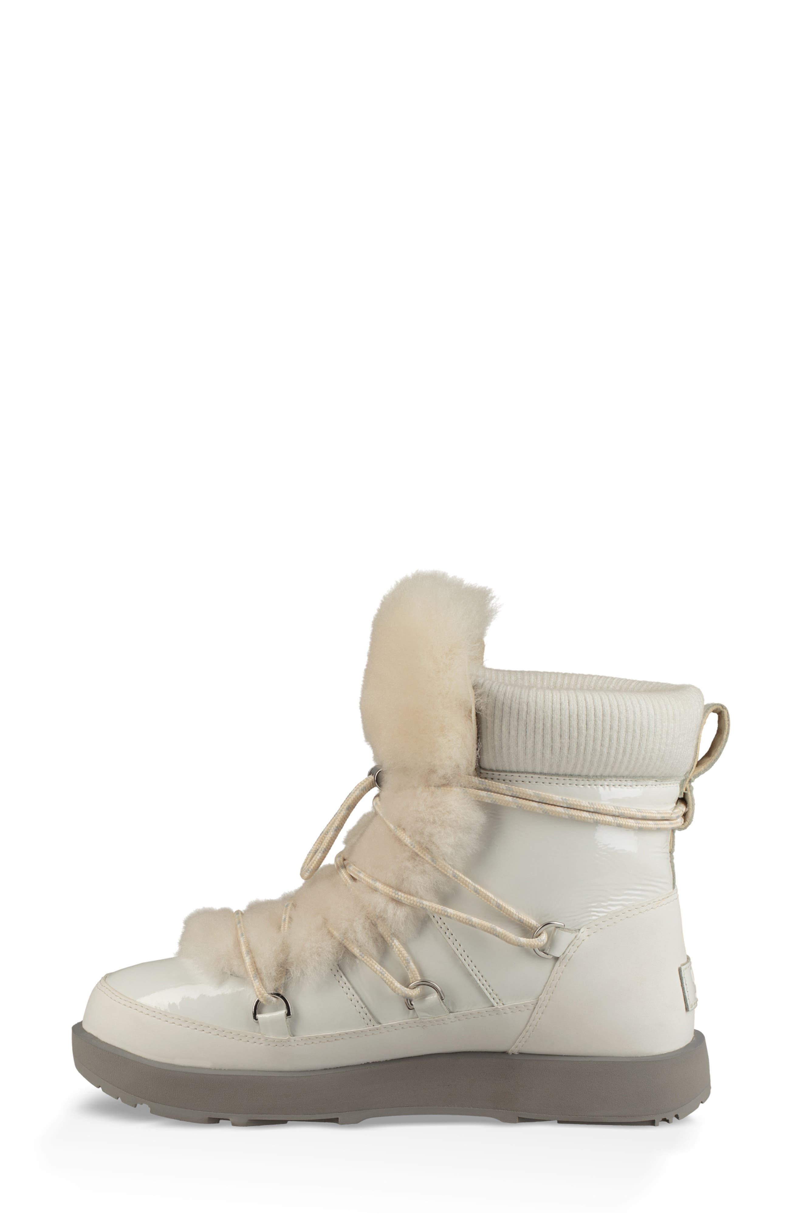 Highland Genuine Shearling Waterproof Bootie,                             Alternate thumbnail 6, color,                             WHITE LEATHER