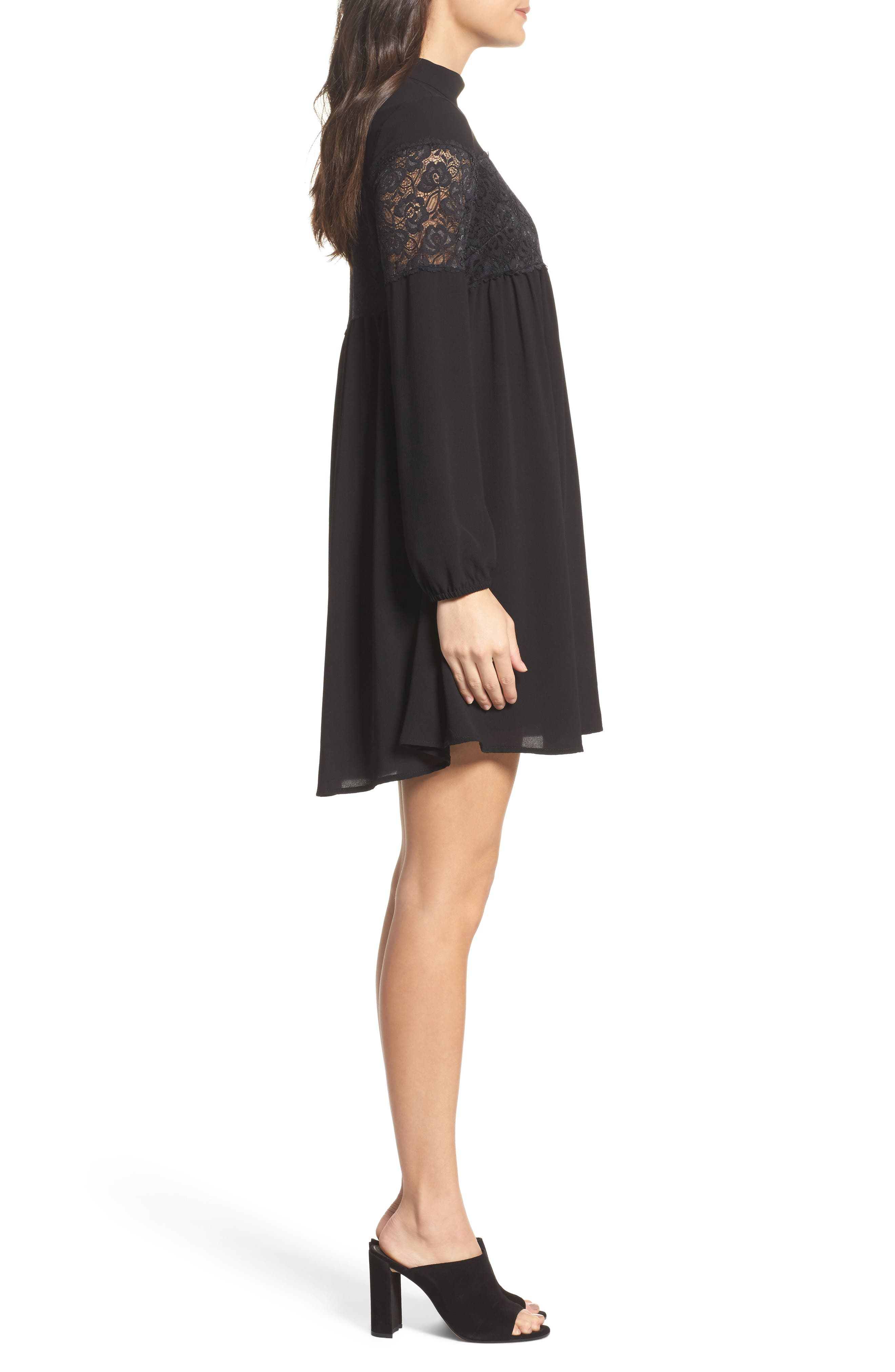 Mock Neck Shift Dress,                             Alternate thumbnail 3, color,                             002