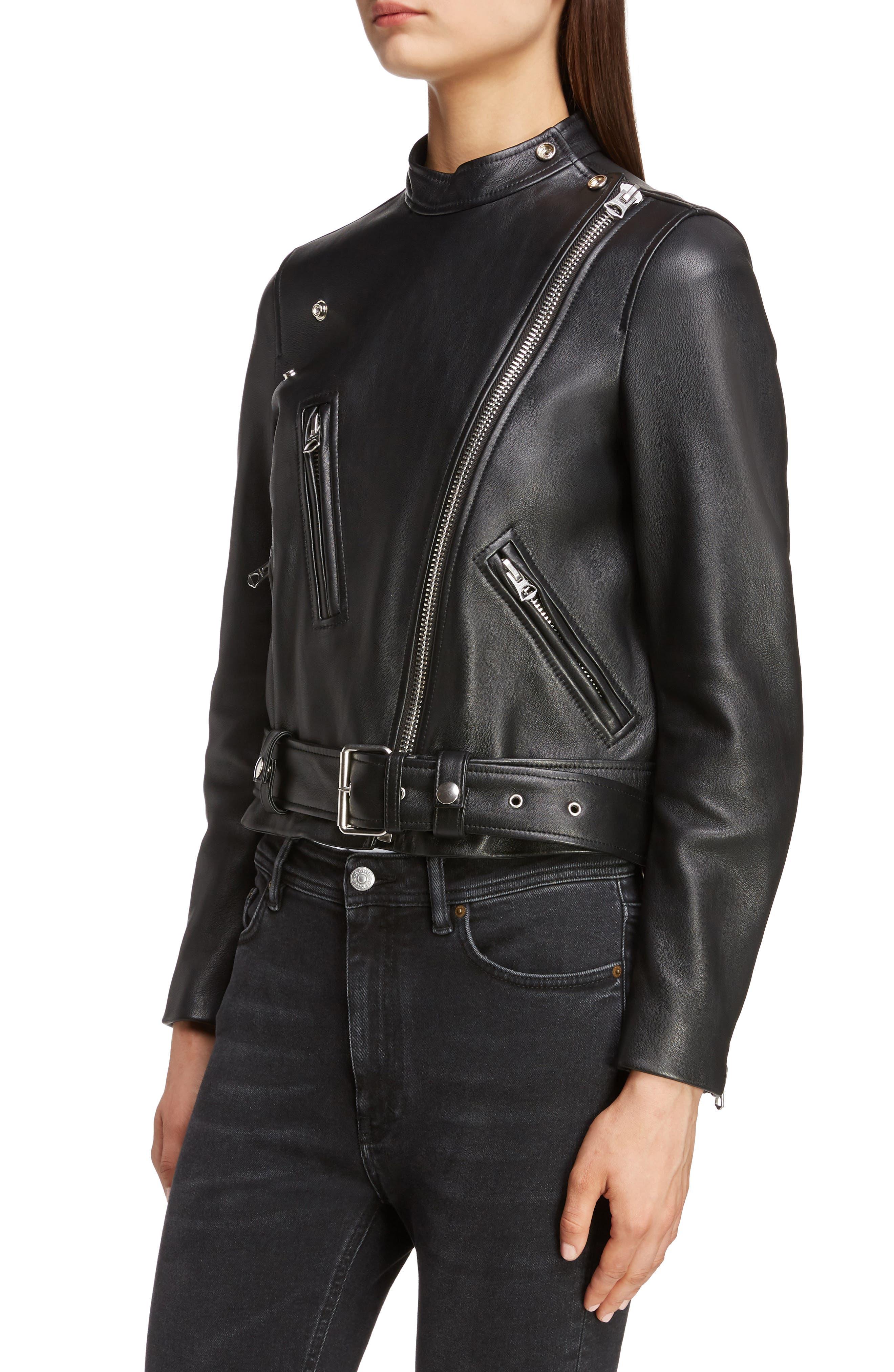 ACNE STUDIOS,                             Lewis Leather Moto Jacket,                             Alternate thumbnail 4, color,                             BLACK