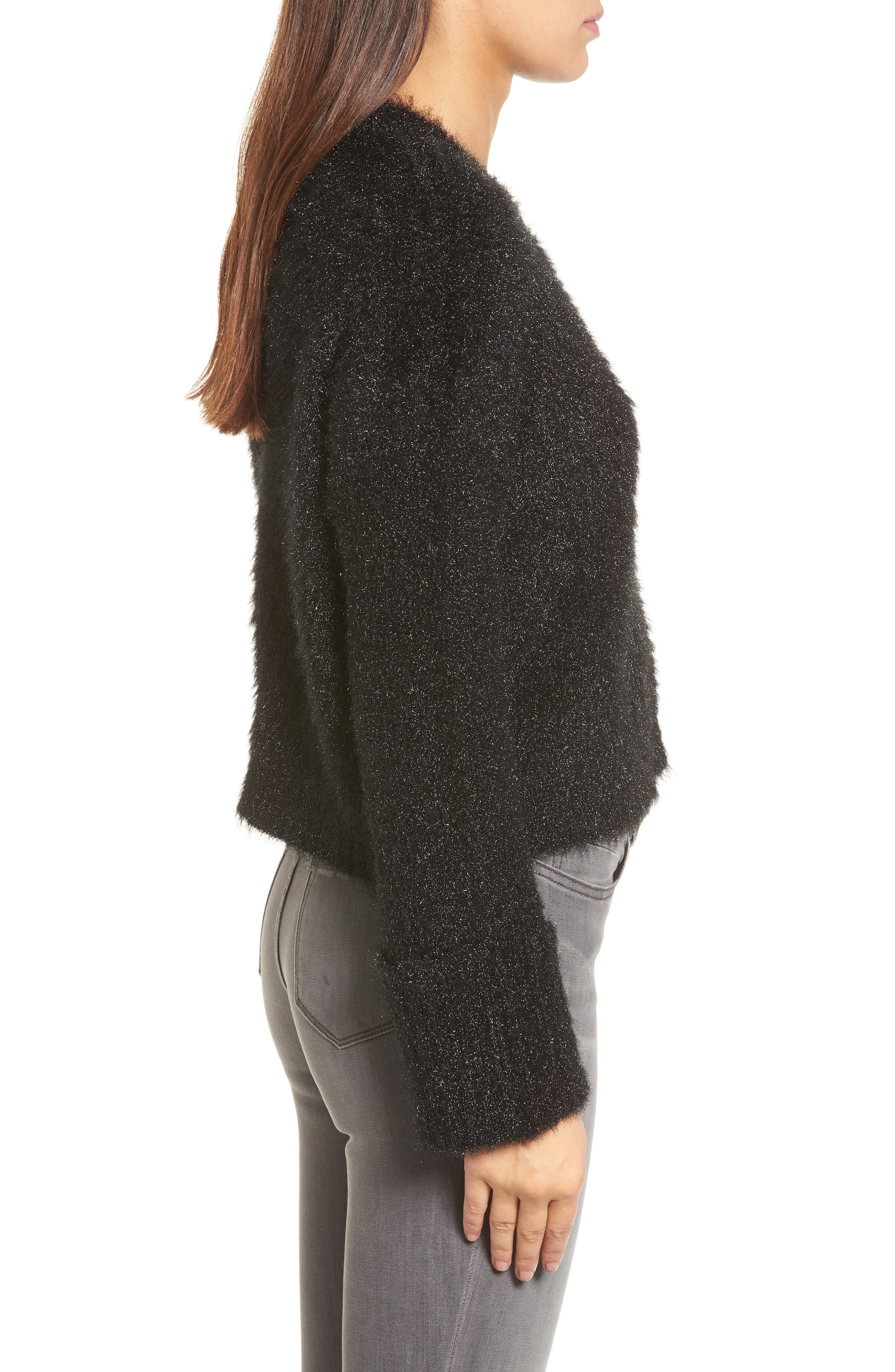 Large Cuff Crop Sweater,                             Alternate thumbnail 3, color,                             001