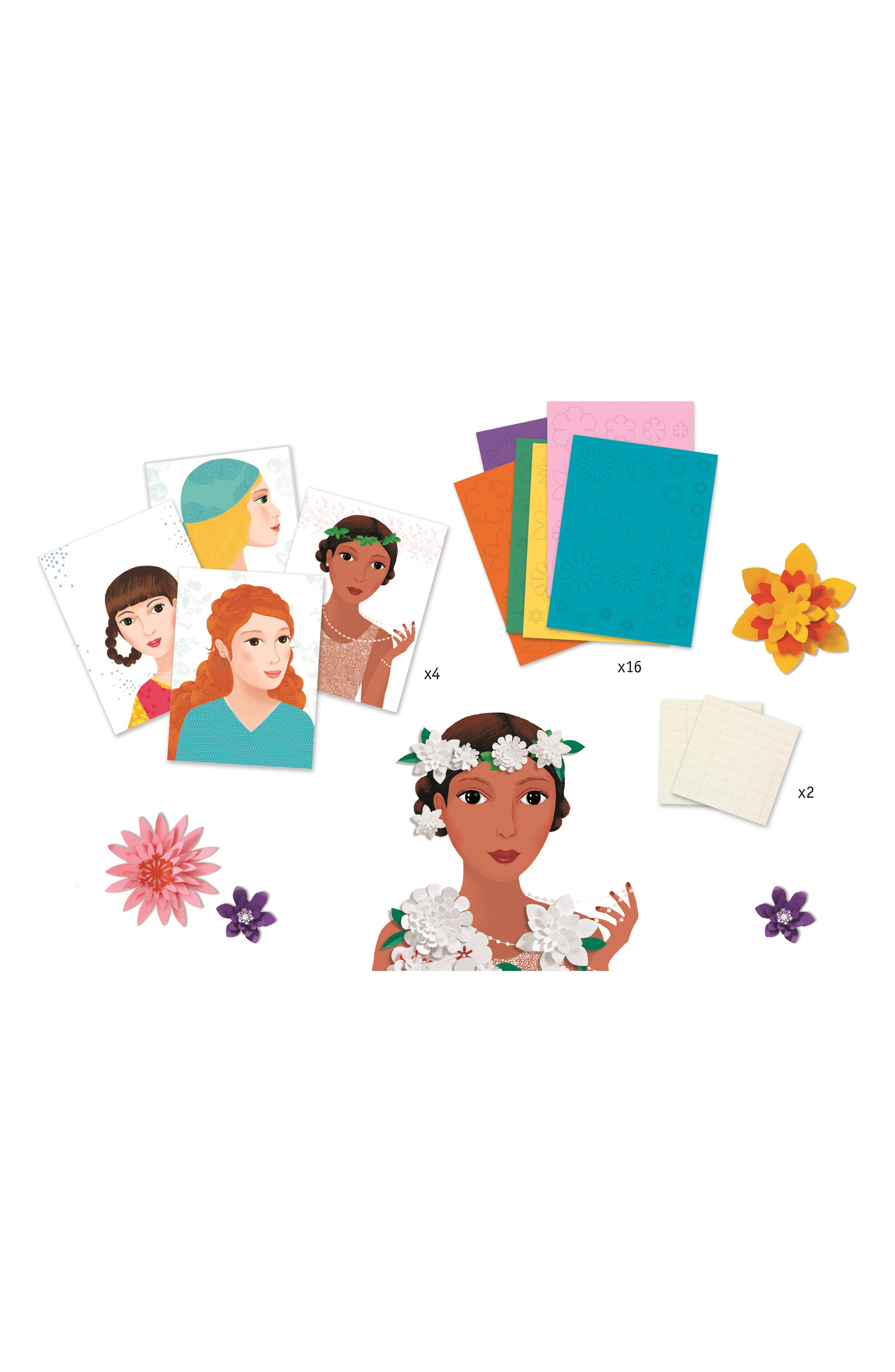 Djeco Young Girls Paper Flowers Craft Kit