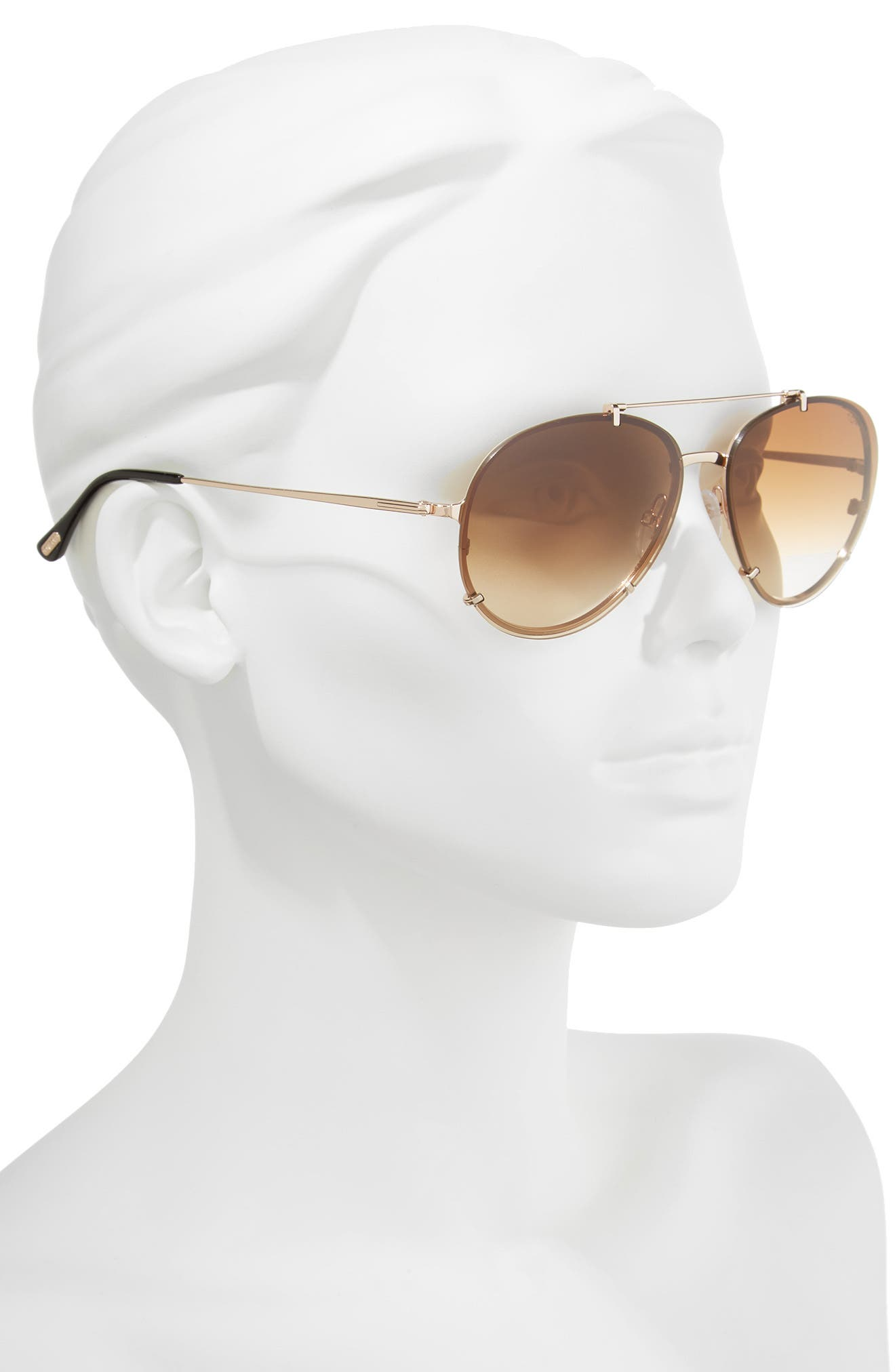 Dickon 59mm Aviator Sunglasses,                             Alternate thumbnail 2, color,                             ROSE GOLD/ BROWN