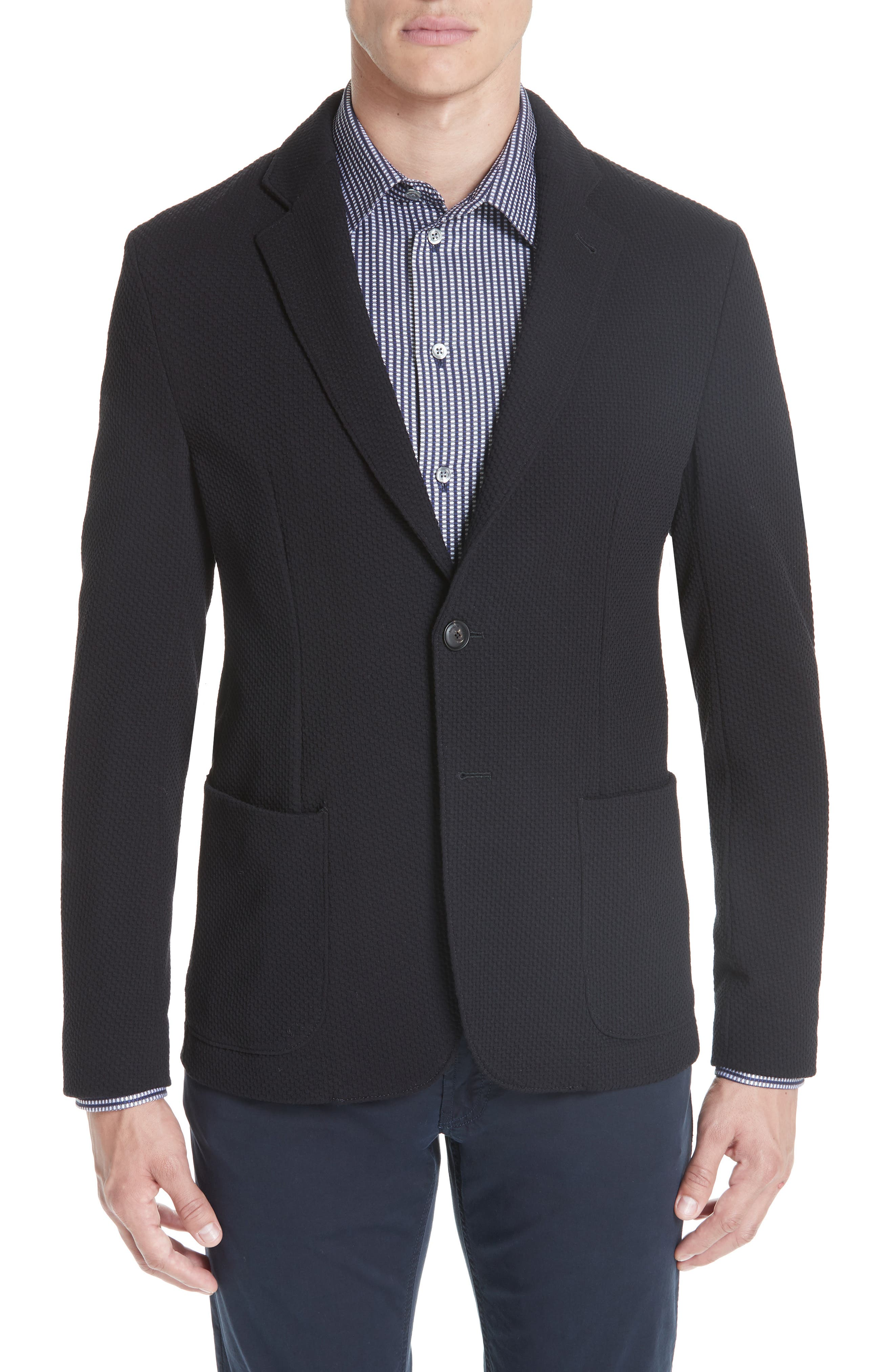 Slim Fit Stretch Cotton Blend Sport Coat, Main, color, BLACK