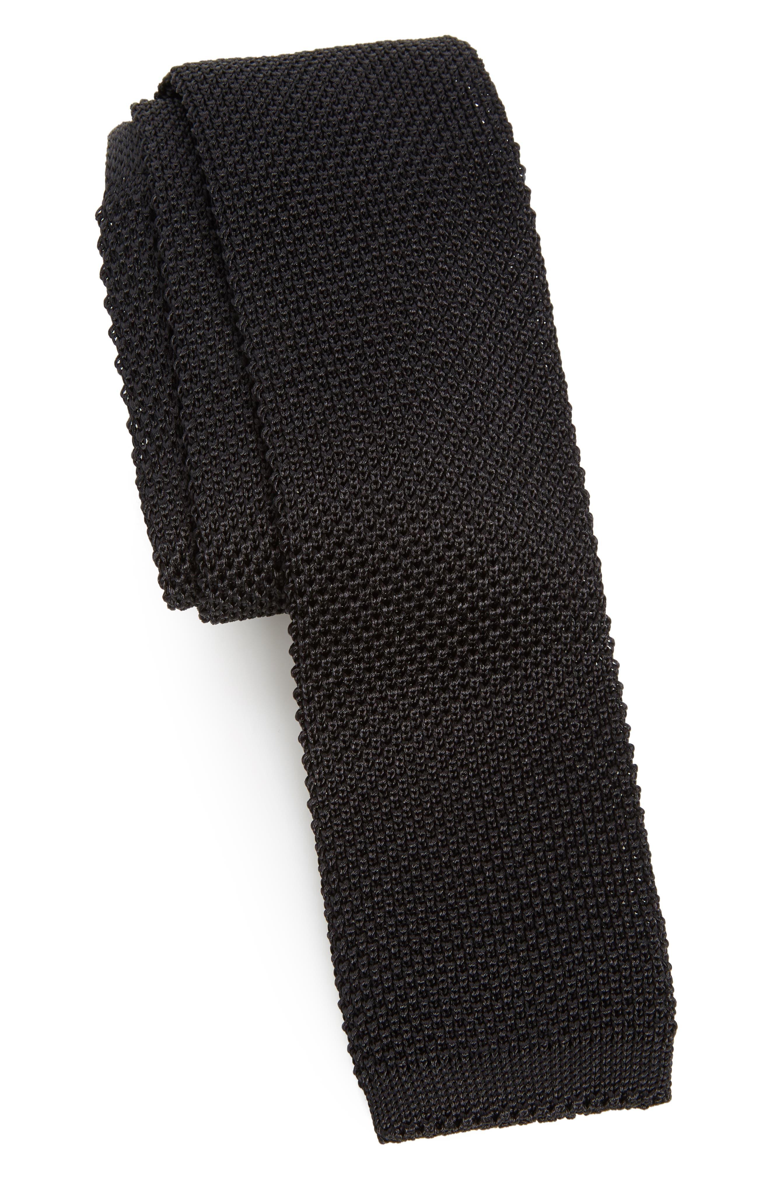 Stuart Silk Knit Tie,                         Main,                         color, 001