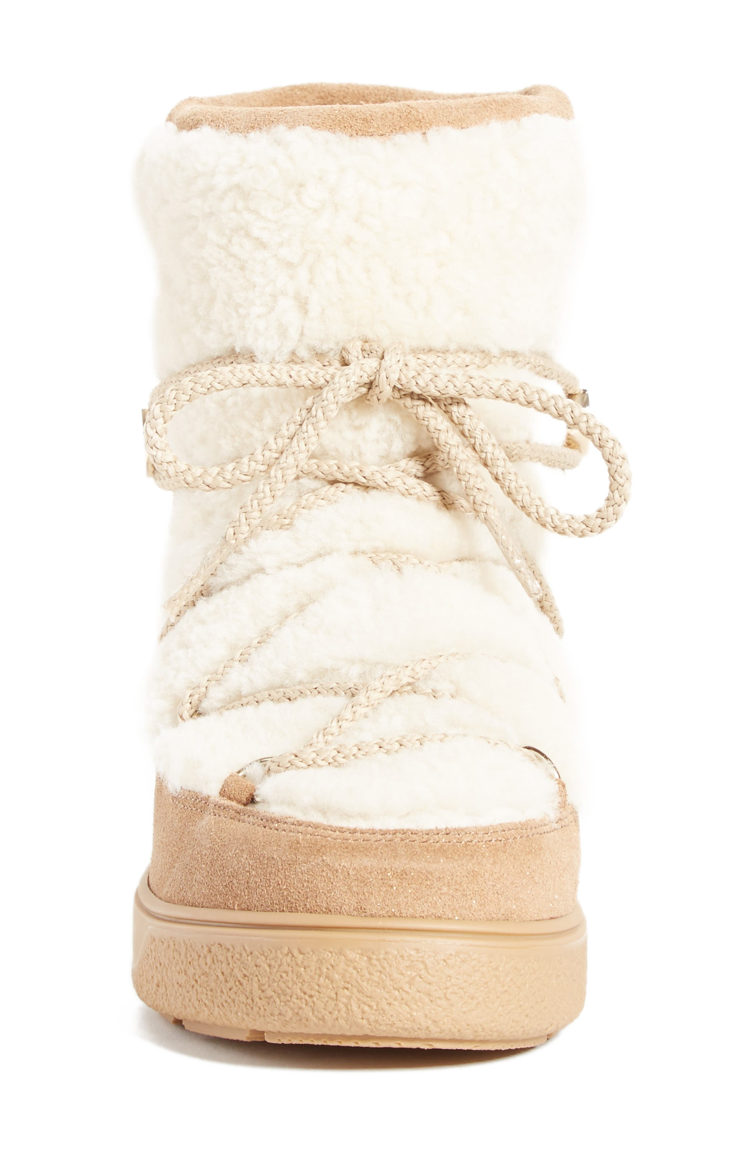 New Fanny Stivale Genuine Shearling Short Moon Boots,                             Alternate thumbnail 4, color,