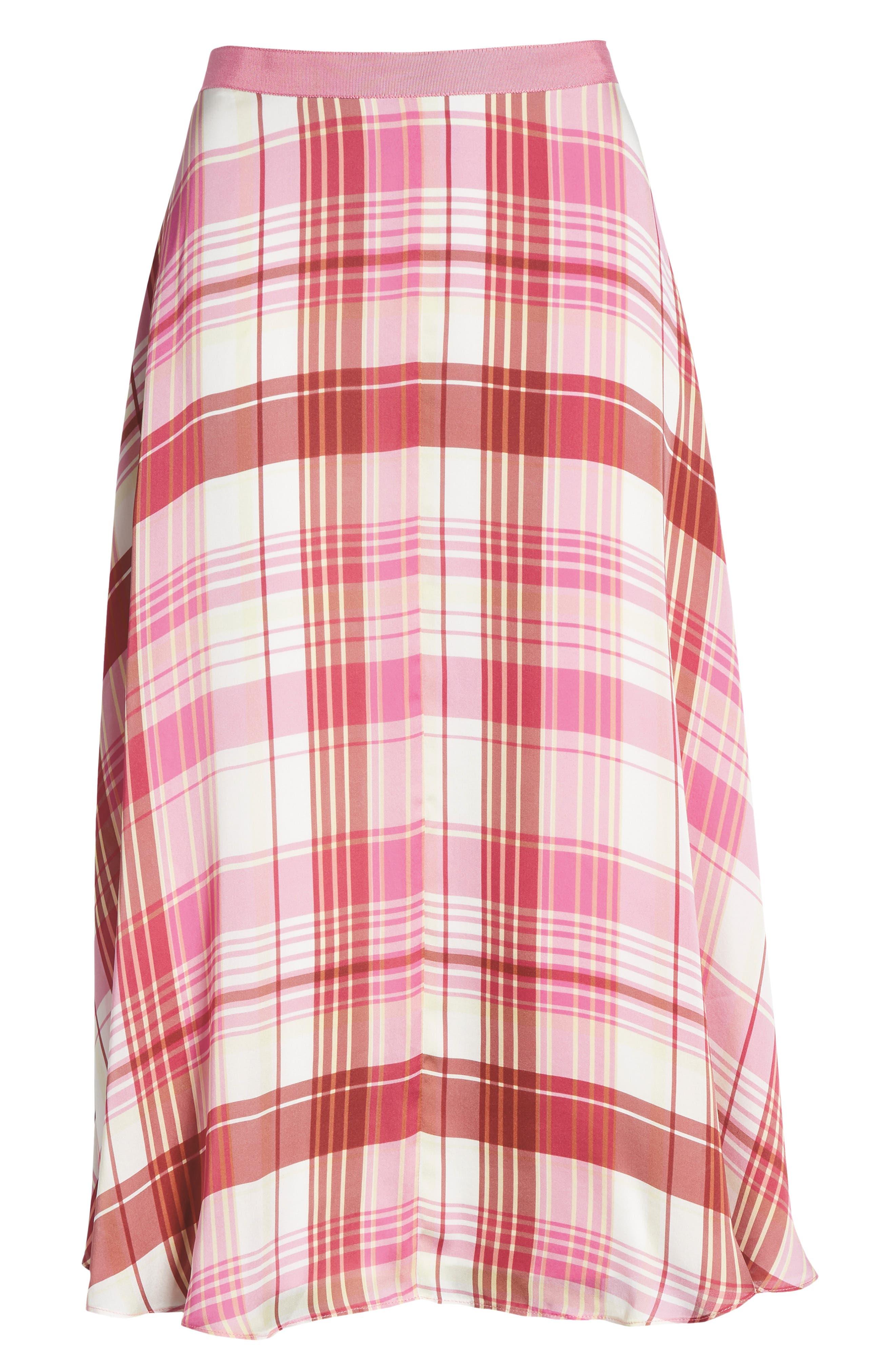 Plaid Silk Skirt,                             Alternate thumbnail 7, color,                             PINK PHLOX LARA PLAID